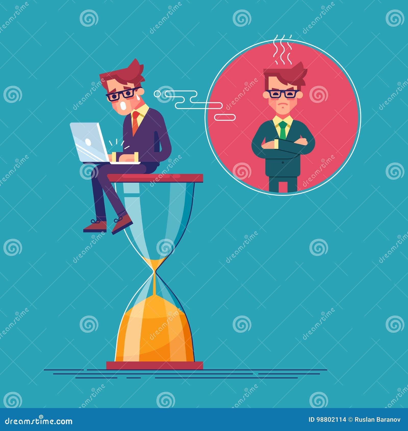 Потревоженный работник сидит на часах с компьтер-книжкой и спешит для того чтобы закончить его проект deadline вектор