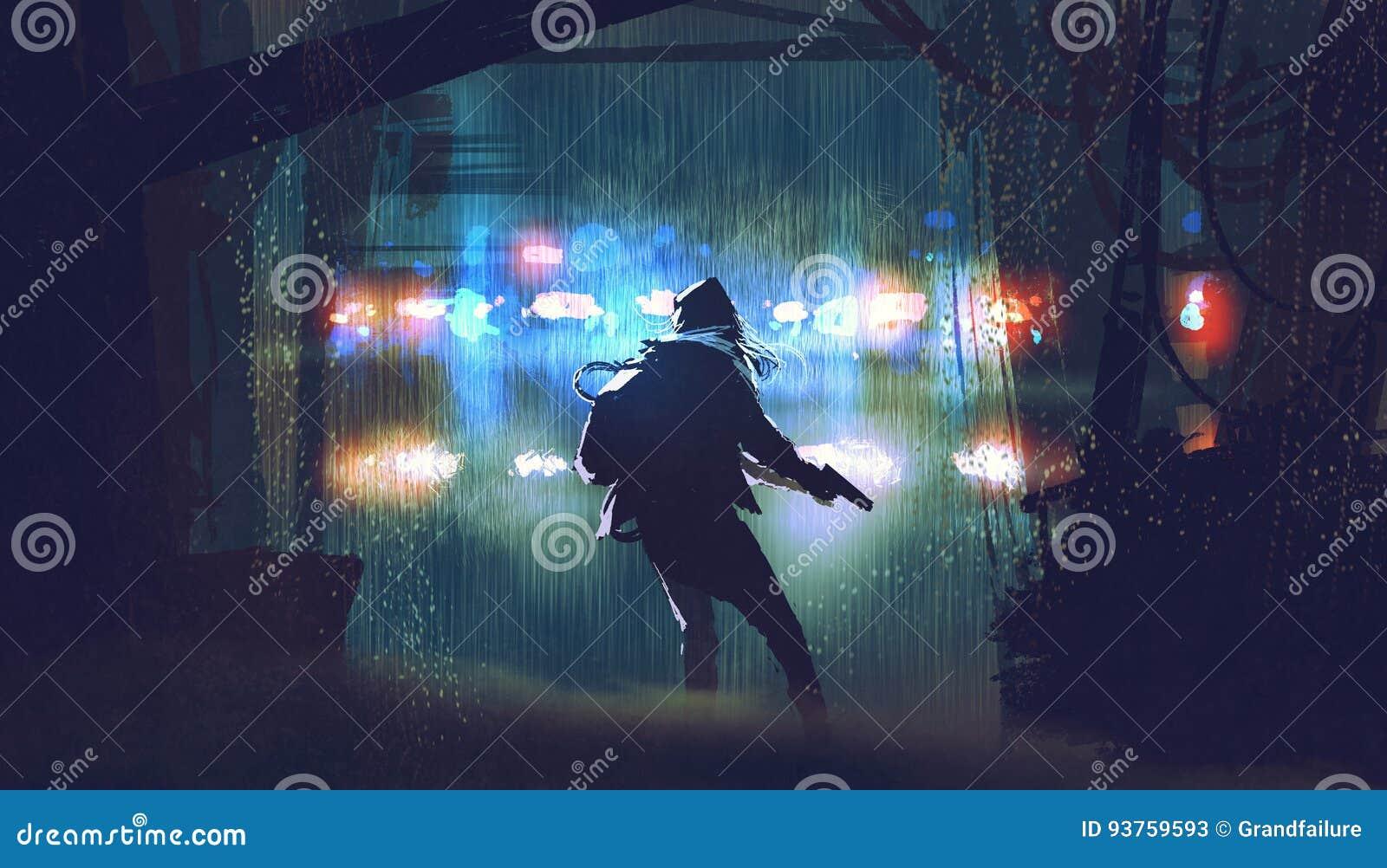 Похититель при оружие будучи улавливанным полицией