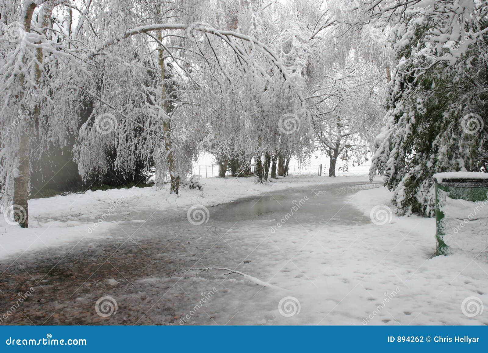 похороненный снежок подъездной дороги вниз