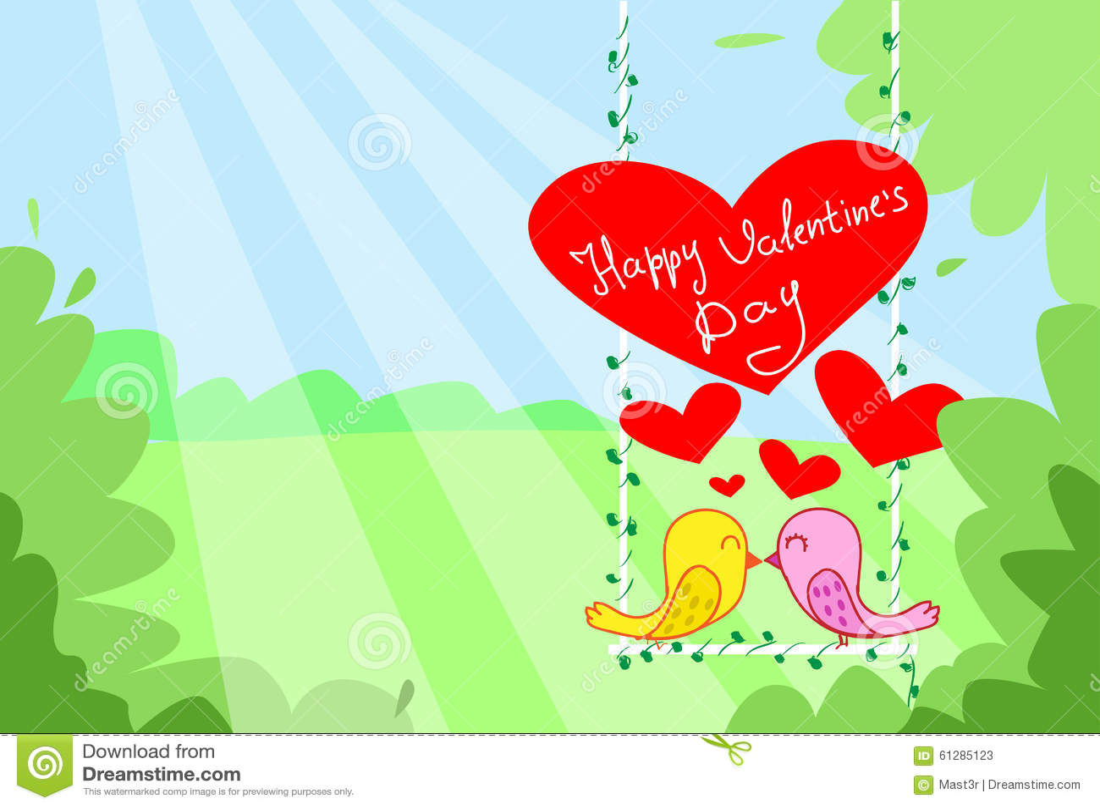 Поцелуй 2 пар птиц сидя на сердце красного цвета качания