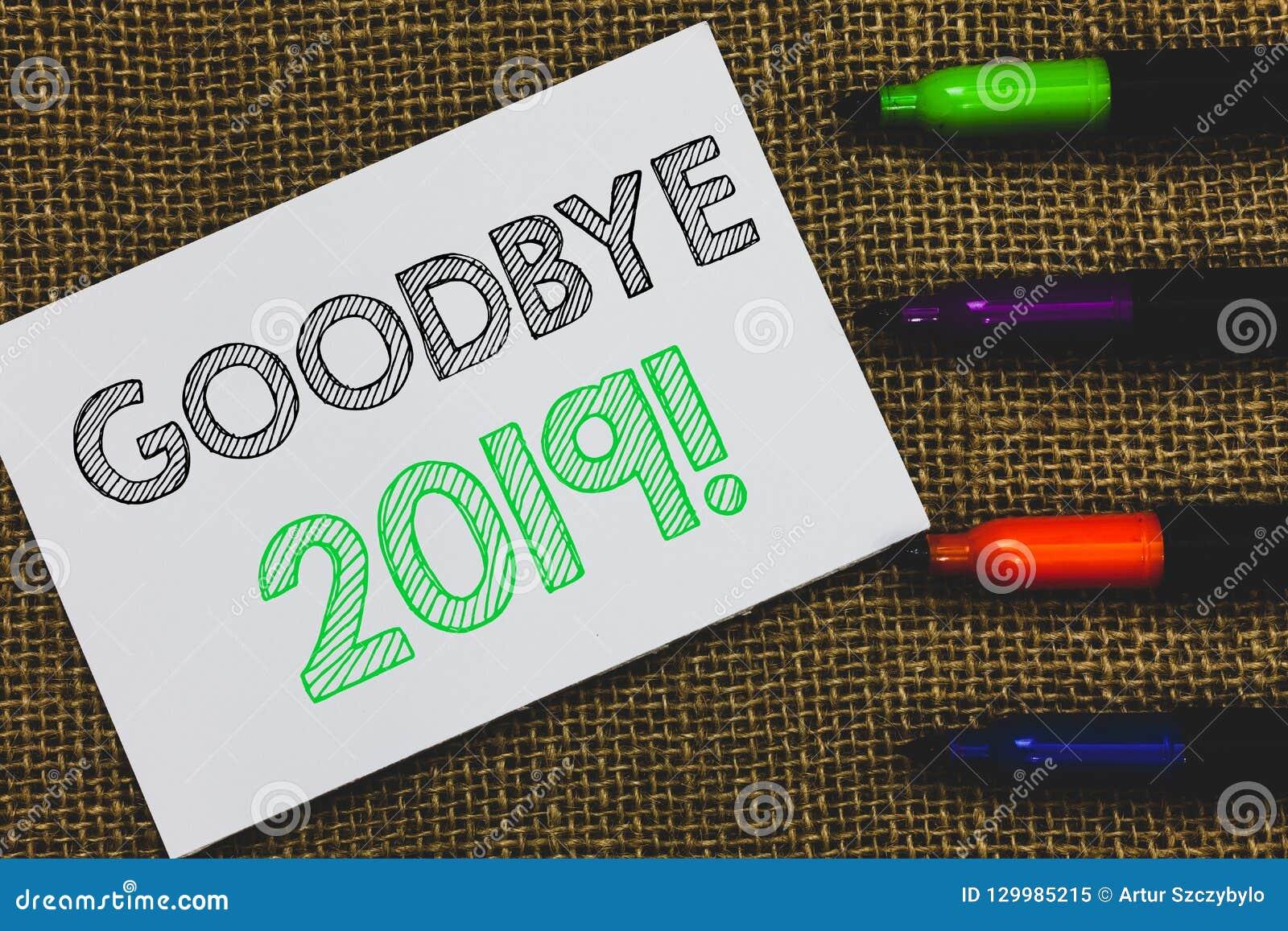 Почерк отправляет SMS до свидания 2019 Белая бумага перехода торжества месяца основного этапа работ кануна Нового Года смысла кон