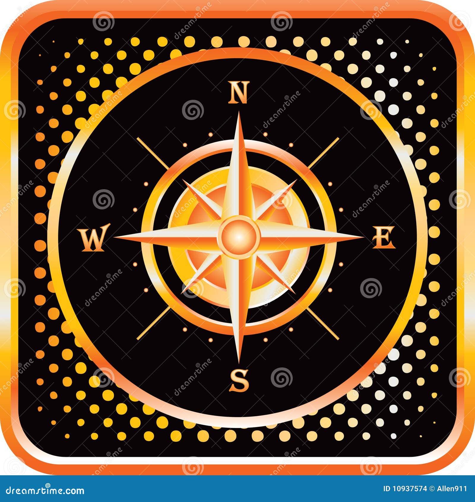 почерните сеть померанца иконы halftone компаса