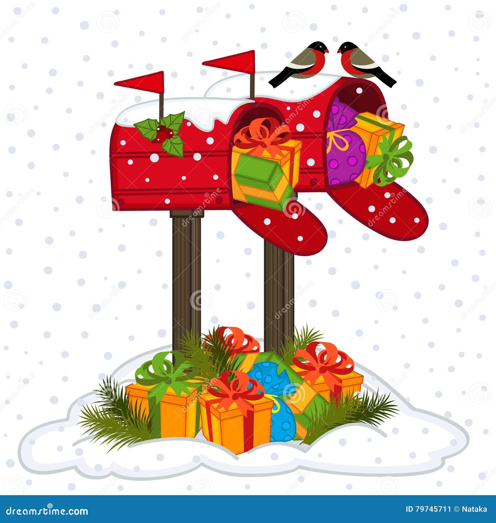 Почтовый ящик с подарками рождества