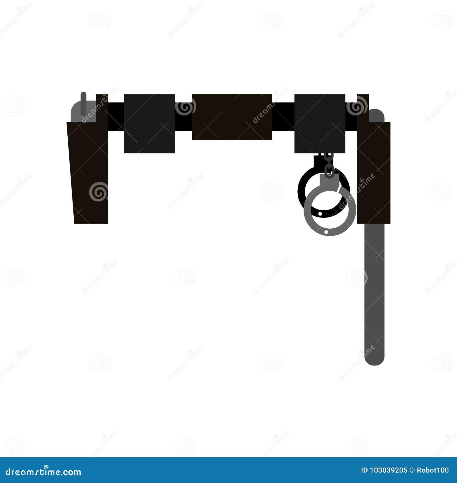 Пояс полицейския Оружие, клуб и наручники также вектор иллюстрации притяжки corel
