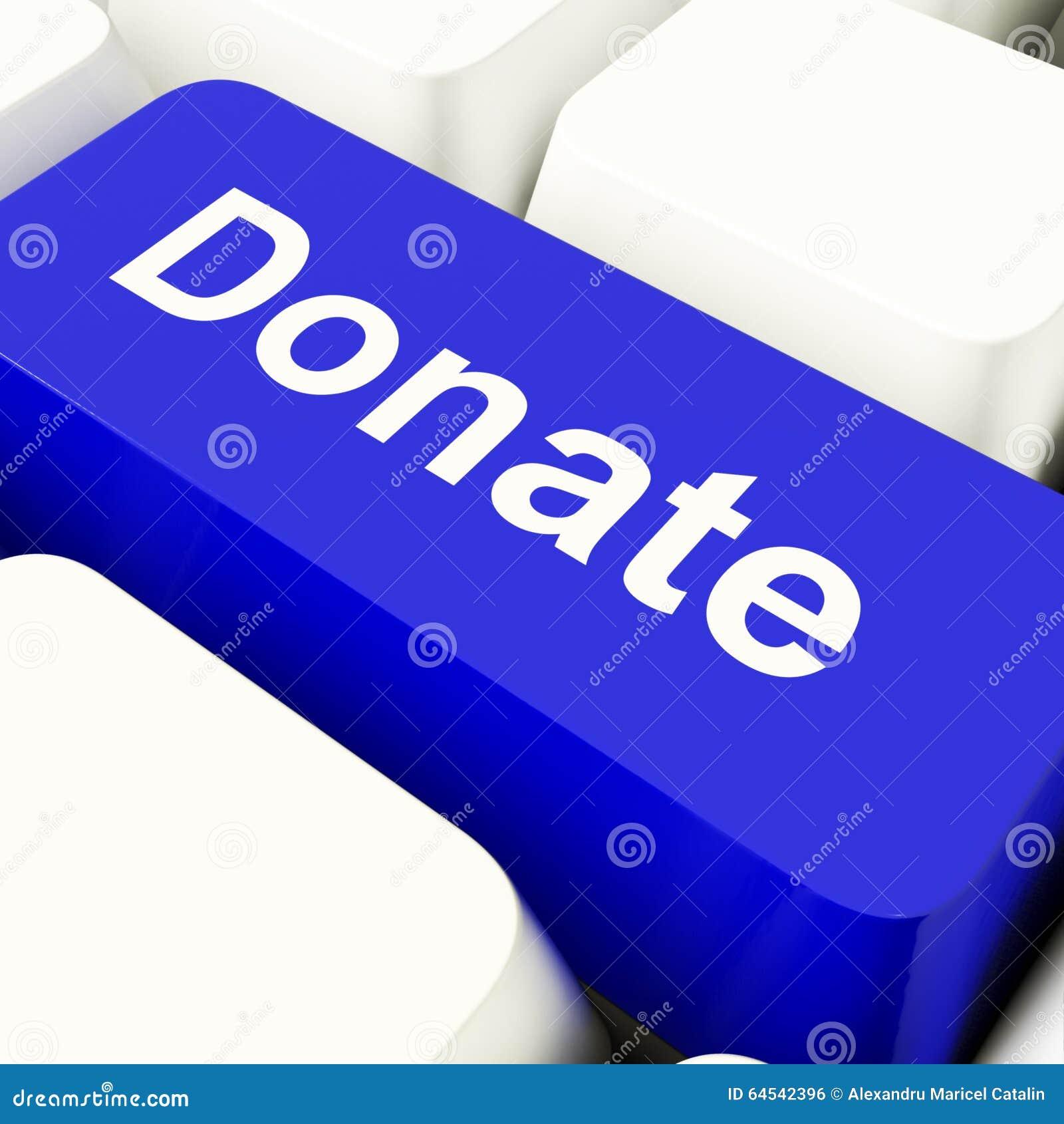 Подарите ключ компьютера в голубом показывая призрении и Fundraising