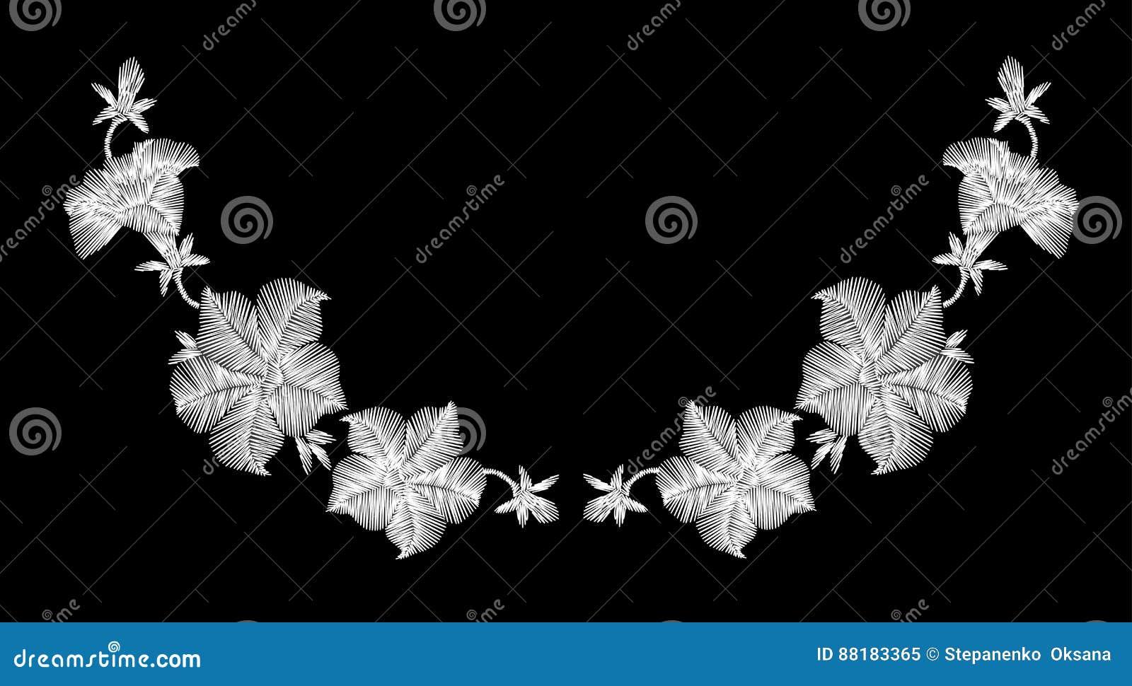 Полевые цветки вышивки белые на черной предпосылке Имитационный шнурок украшение модной одежды картина традиционная
