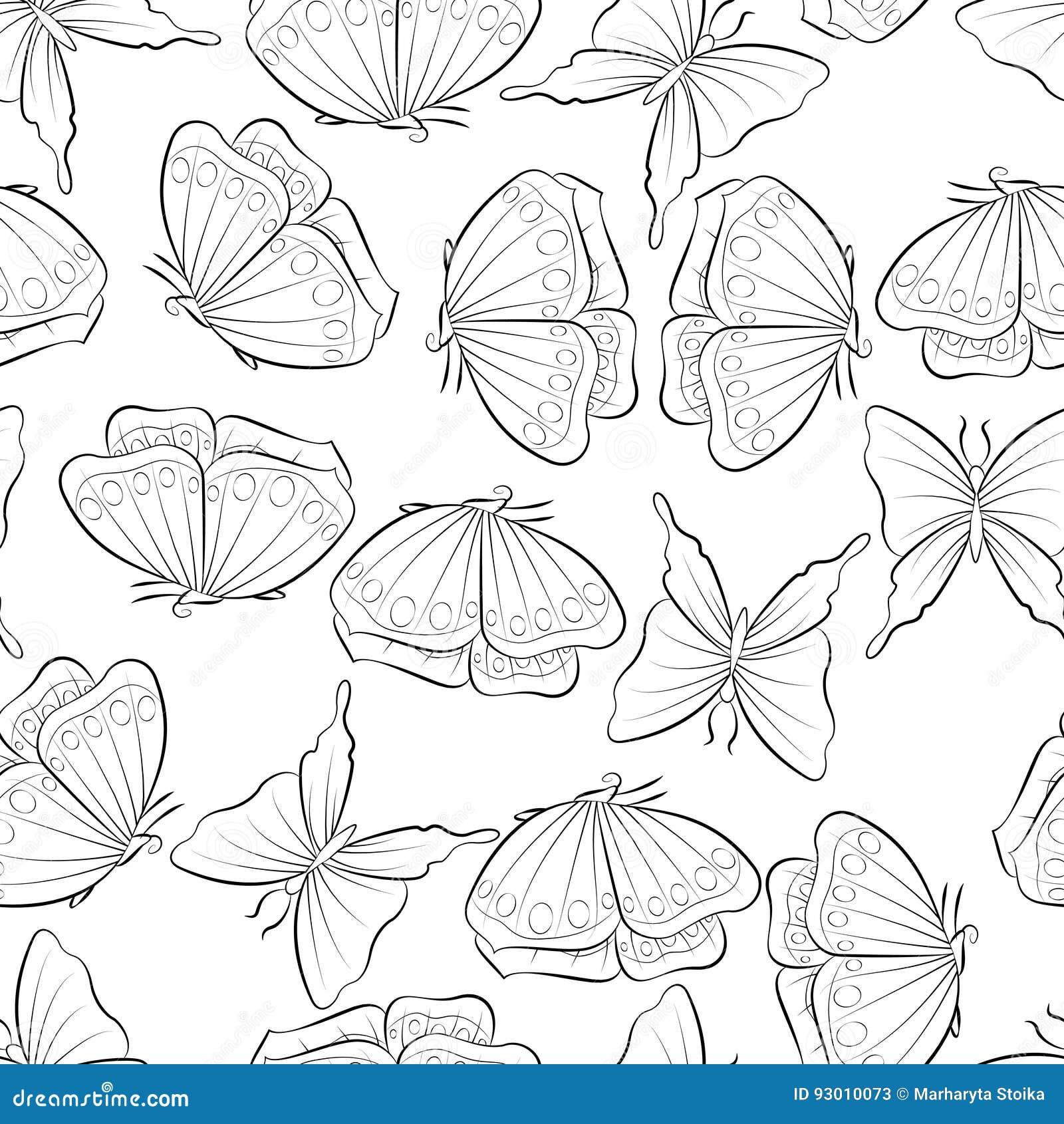 полет бабочки безшовная картина с вектором насекомого весна