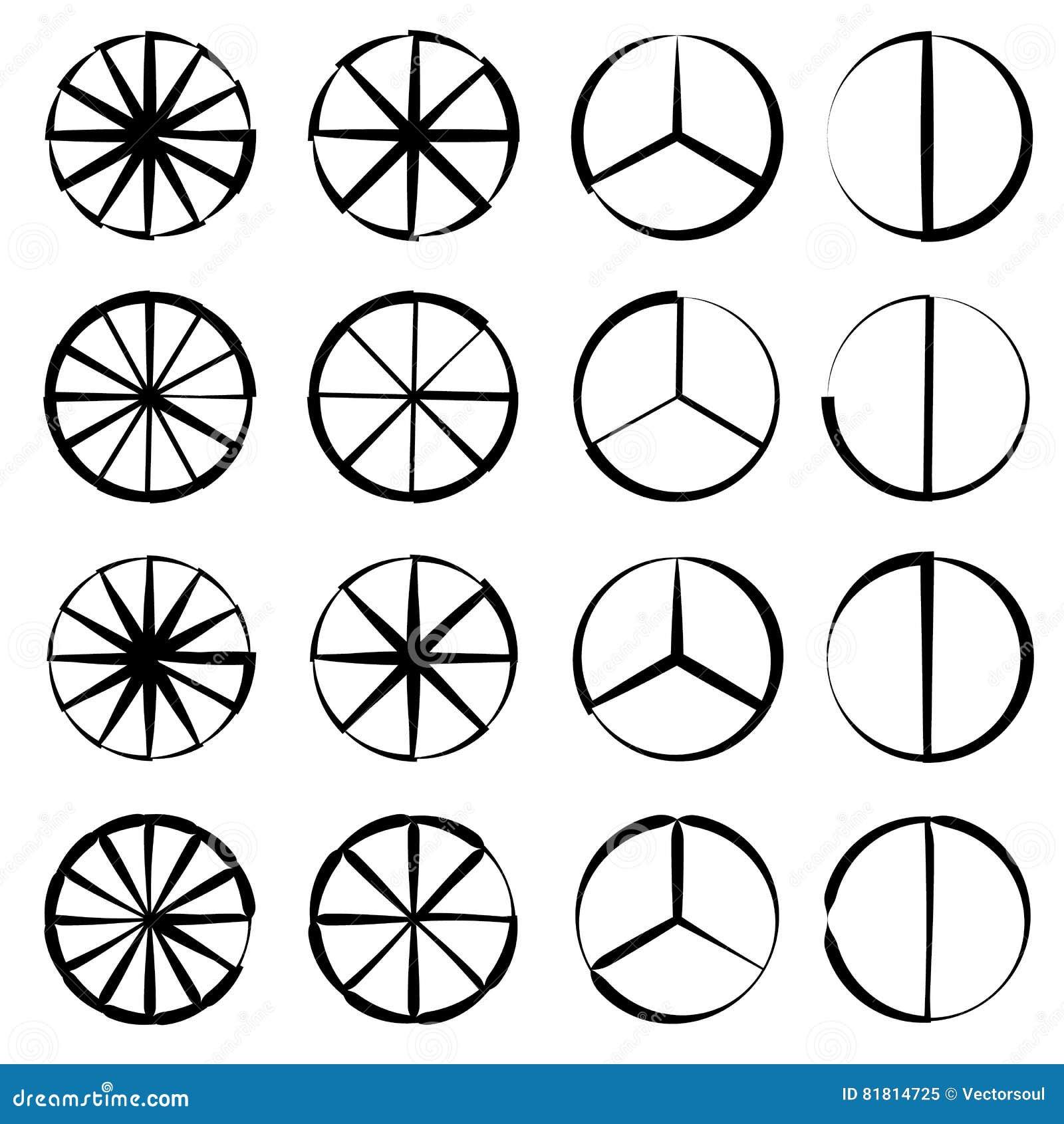 Поделенный на сегменты круг - долевая диограмма, комплект плана диаграммы пирога