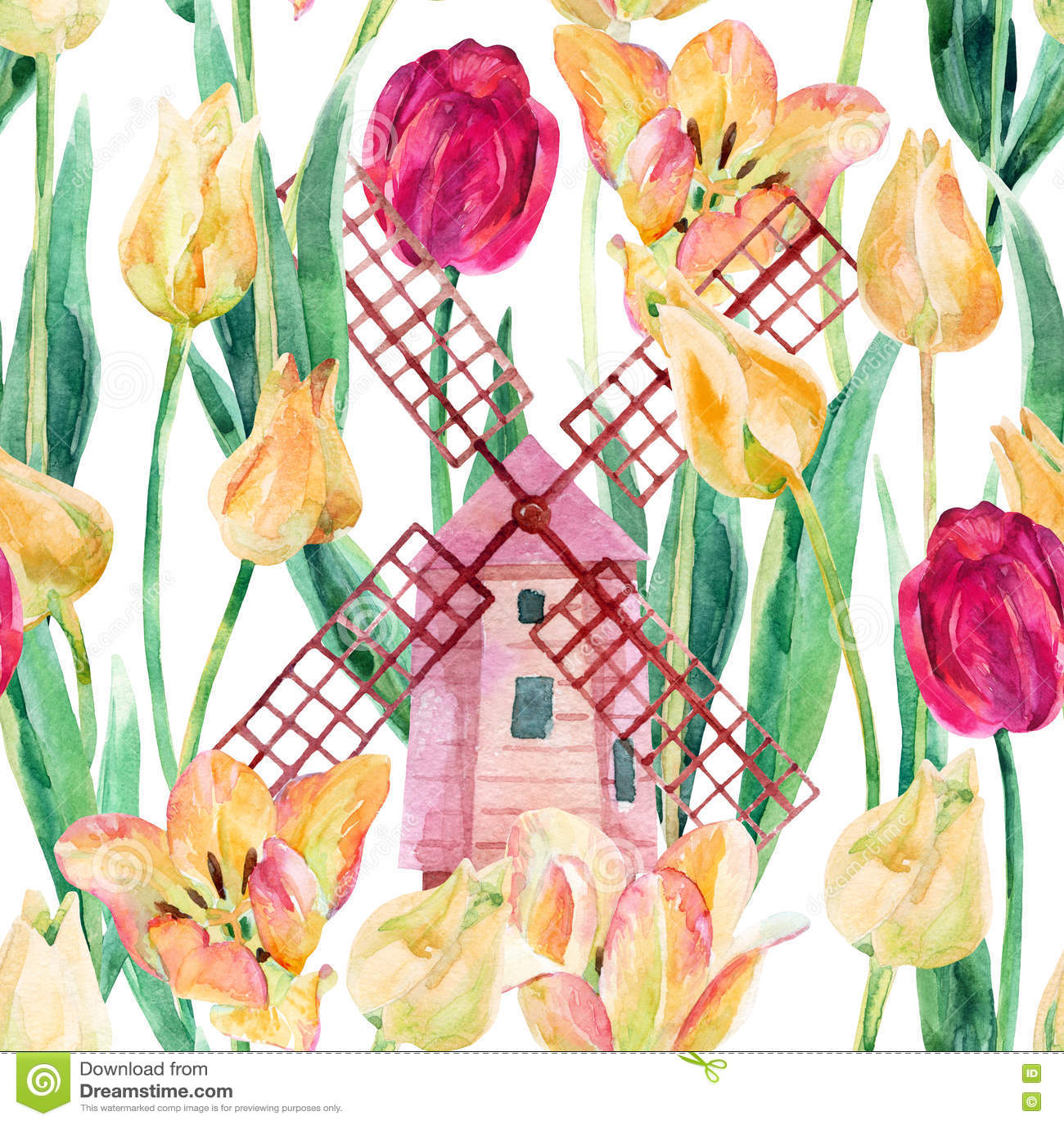 Download Поле тюльпанов акварели красочное с старыми ветрянками Иллюстрация штока - иллюстрации насчитывающей природа, сад: 72285203