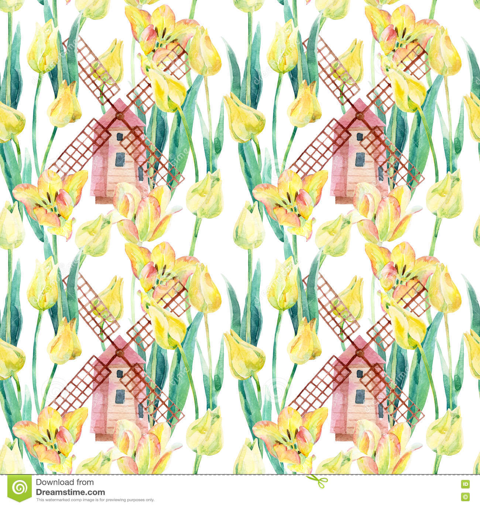 Download Поле тюльпанов акварели с старыми ветрянками Иллюстрация штока - иллюстрации насчитывающей ландшафт, напольно: 72285086