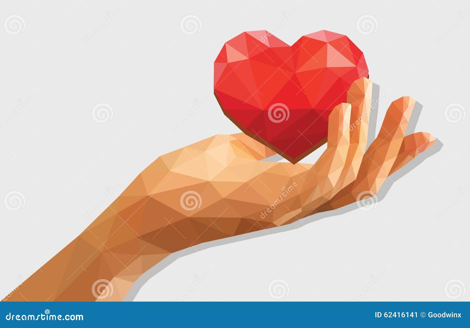 Полигональная низкая поли раскрытая приданная форму чашки левая рука держа сердце