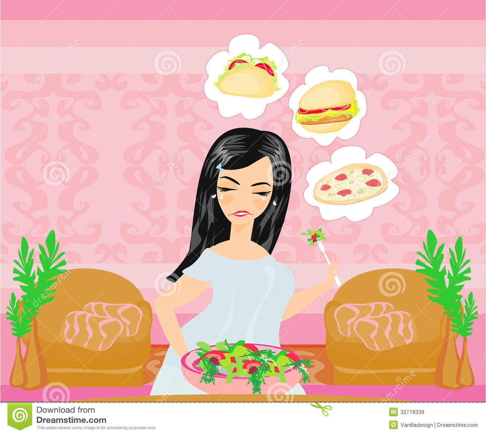 Полная девушка ест салат но мечты еды фаст-фуда