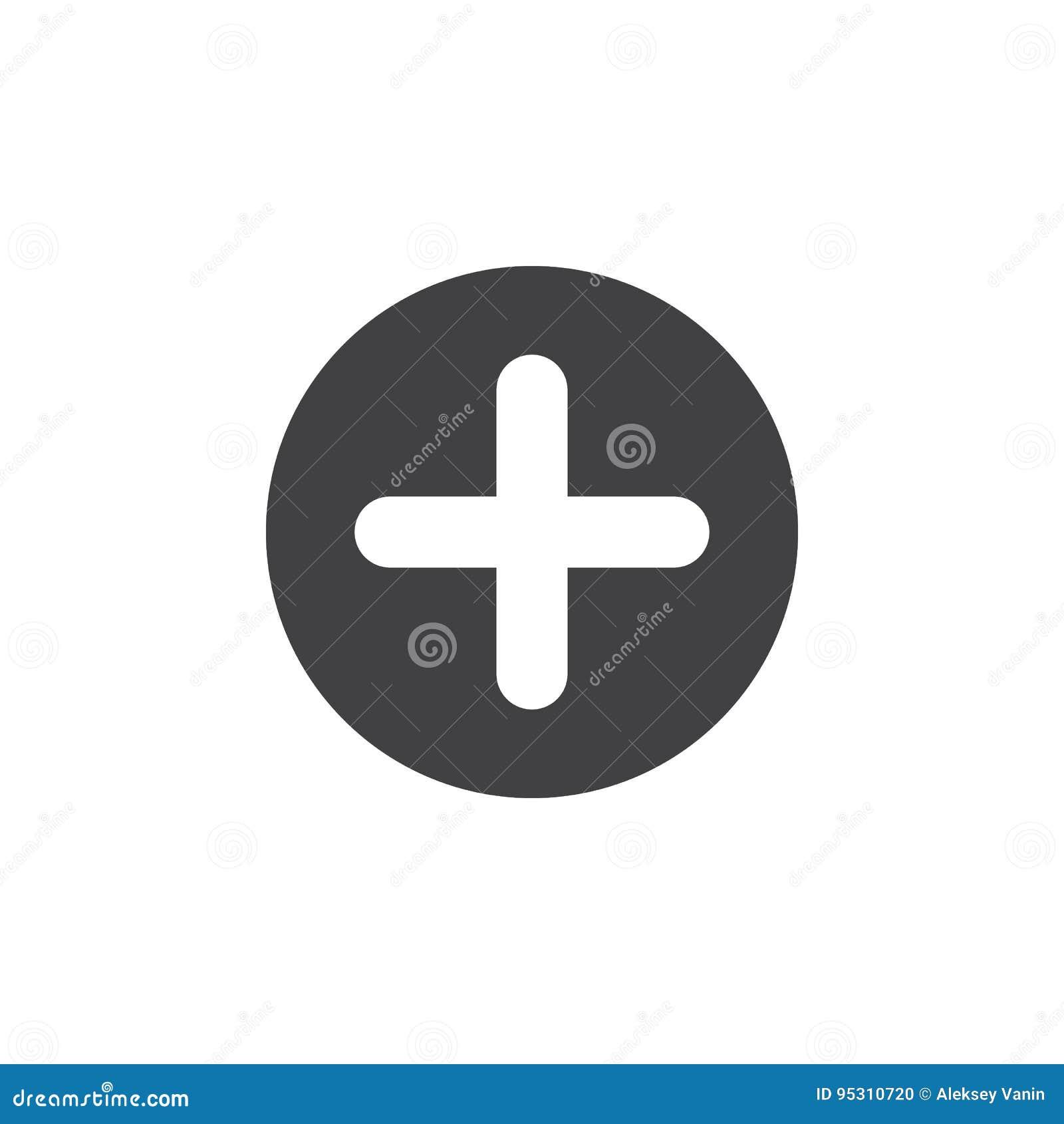 Положительная величина, добавляет плоский значок Перекрестная круглая простая кнопка, круговой знак вектора