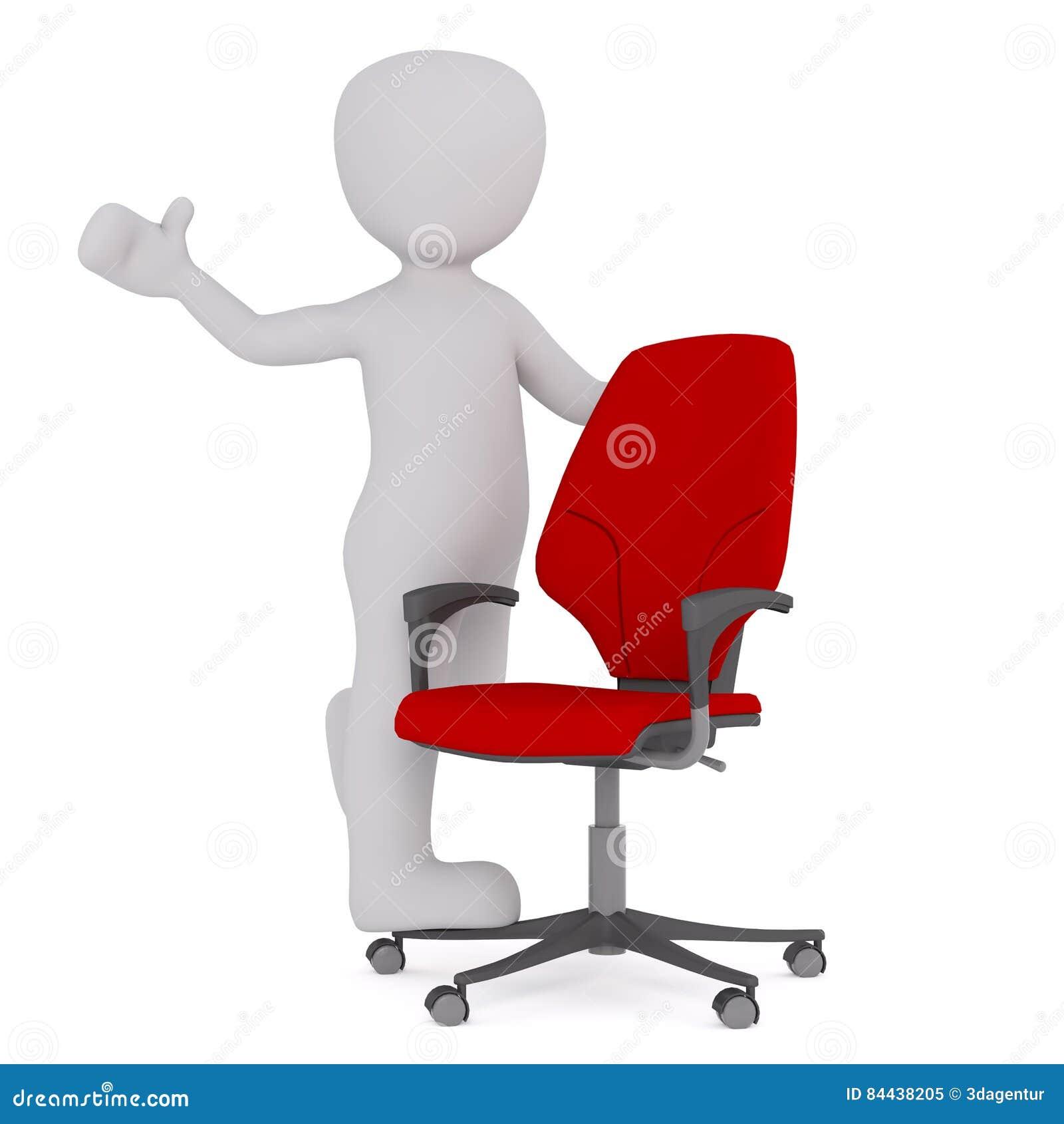Положительная диаграмма шаржа с красным стулом офиса