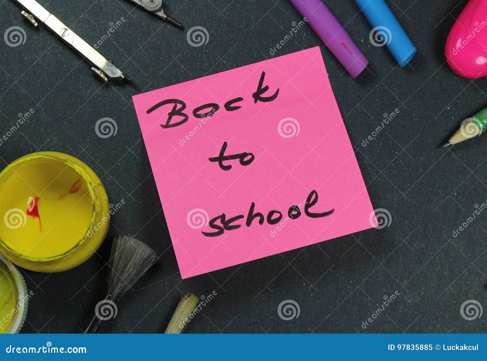 Подпишите, назад к ` школы на помощи стикера и школы