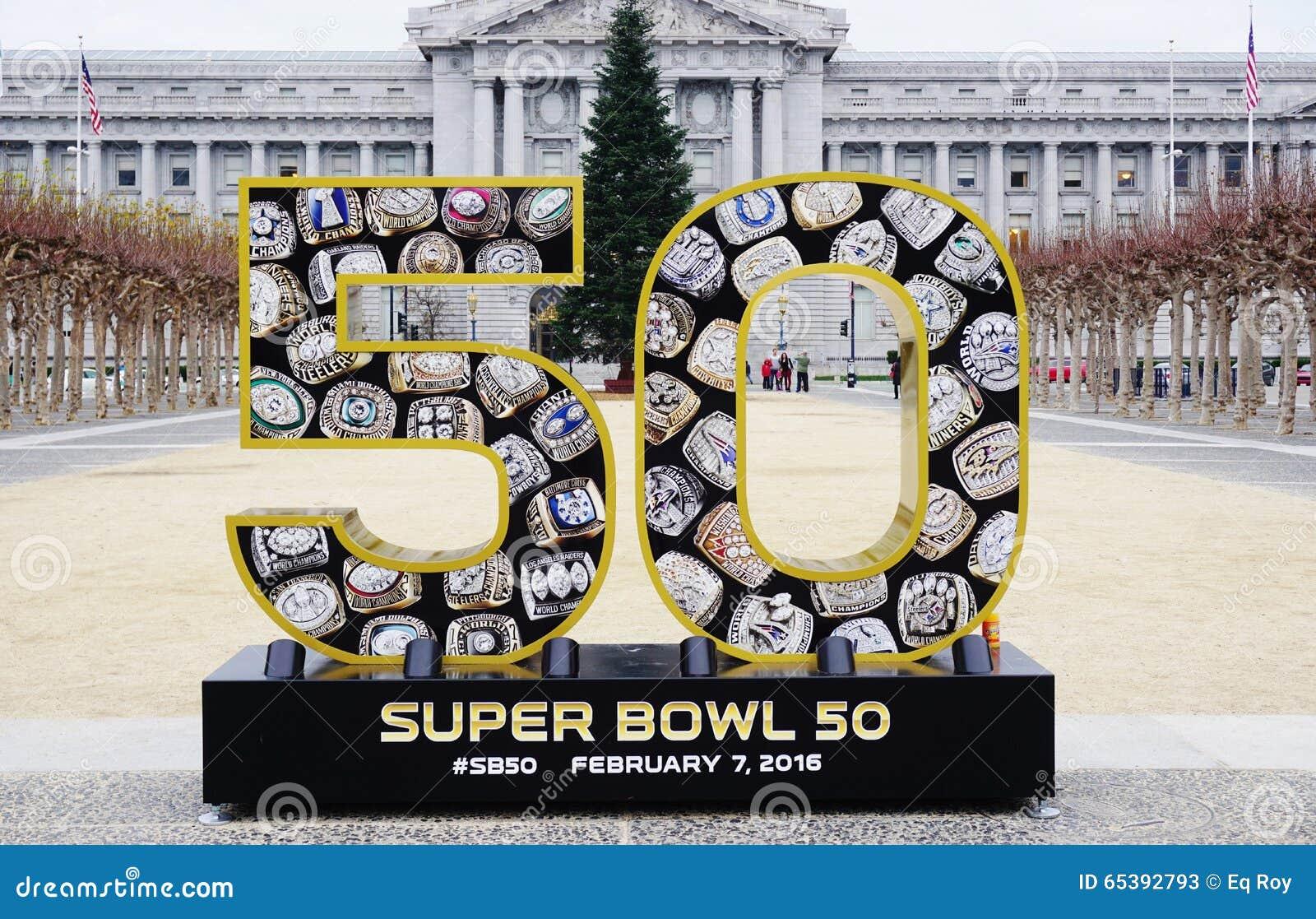 Подпишите на Супер Боул 50 2016 NFL, который нужно держать в области San Francisco Bay