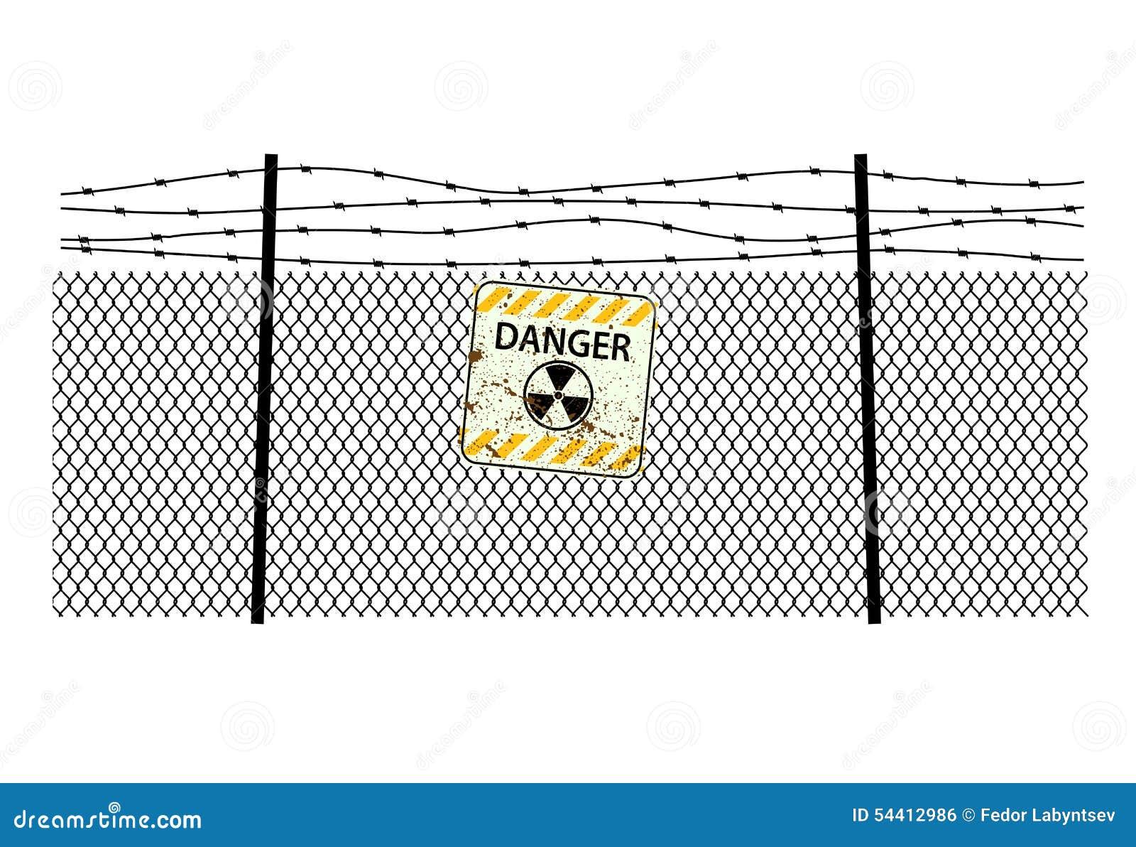 Подпишите радиацию на стали ограждая с колючей проволокой