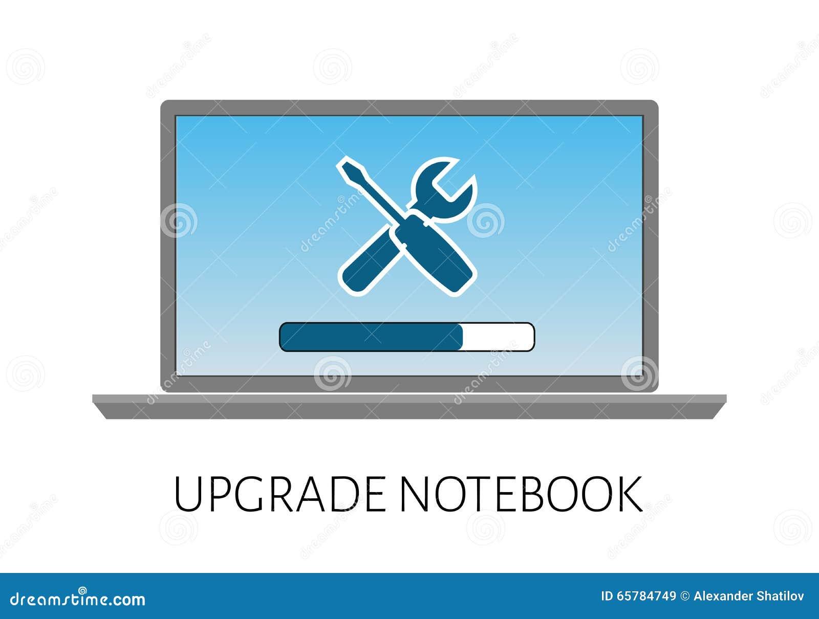 подъем компьтер-книжки компьютера с ремонтом нагрузки и значка прокладки