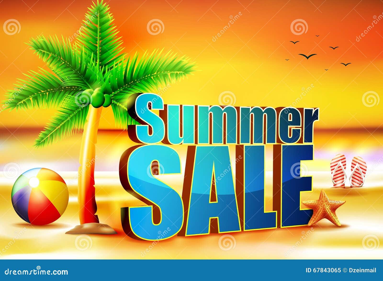 подъем Солнця продажи лета 3D на пляж с шариком пляжа пальма