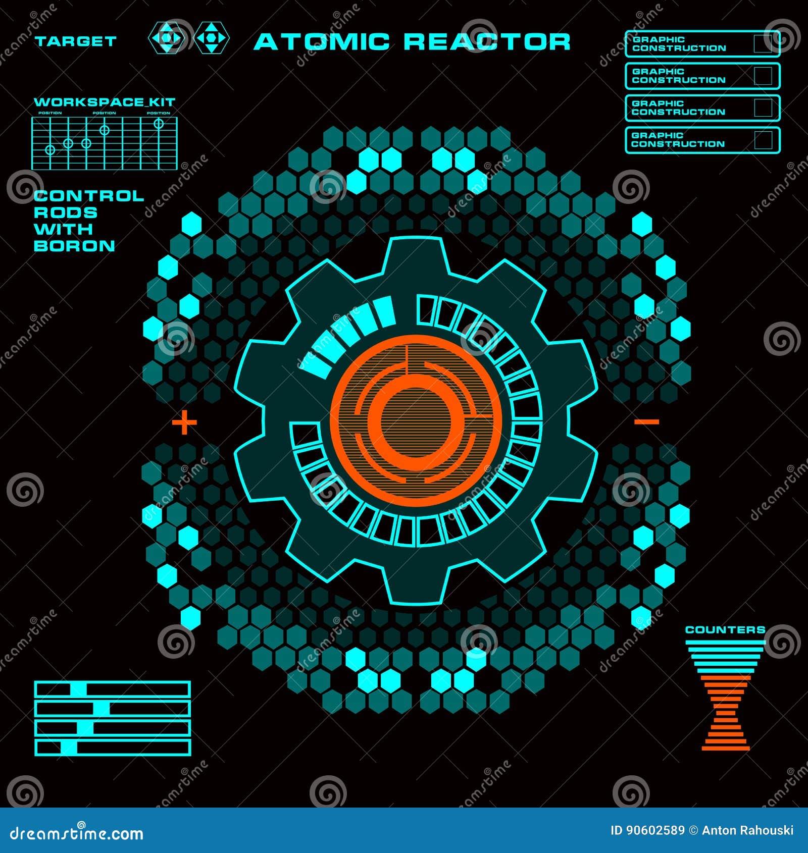 Пользовательский интерфейс касания ядерного реактора футуристический виртуальный графический