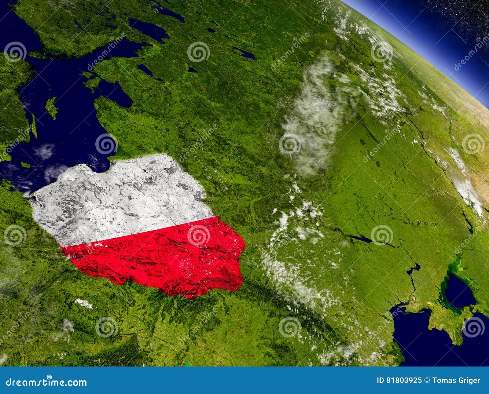 Польша с врезанным флагом на земле