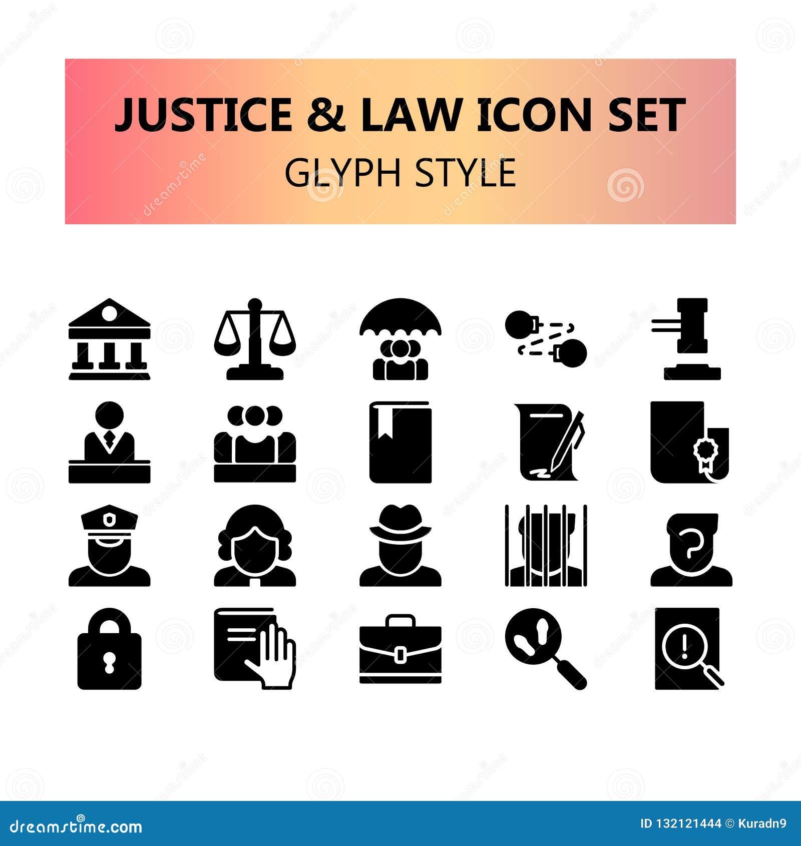 Правосудие, закон и набор значков законного пиксела идеальный