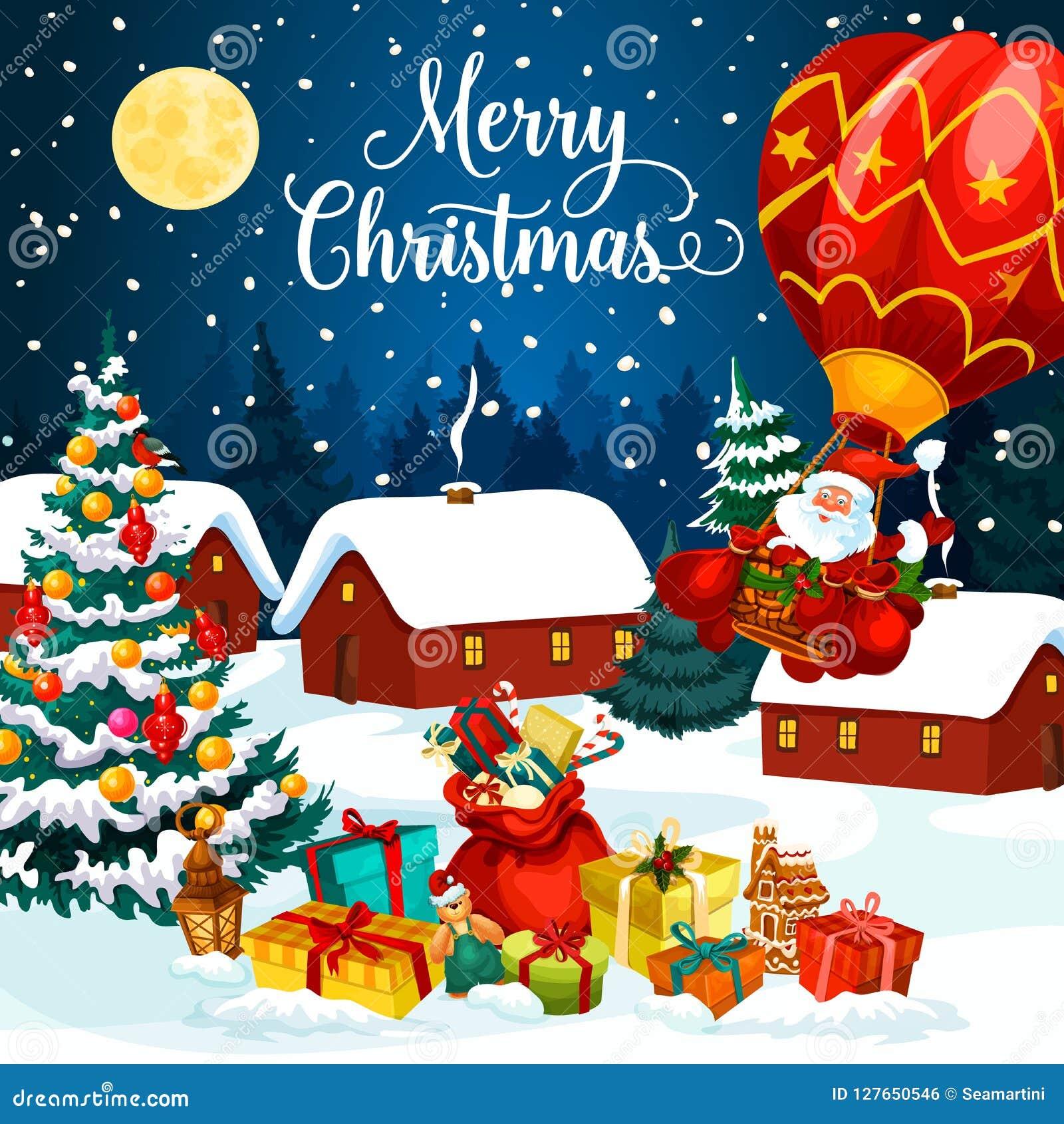 Праздничные подарки рождества на поздравительной открытке снега