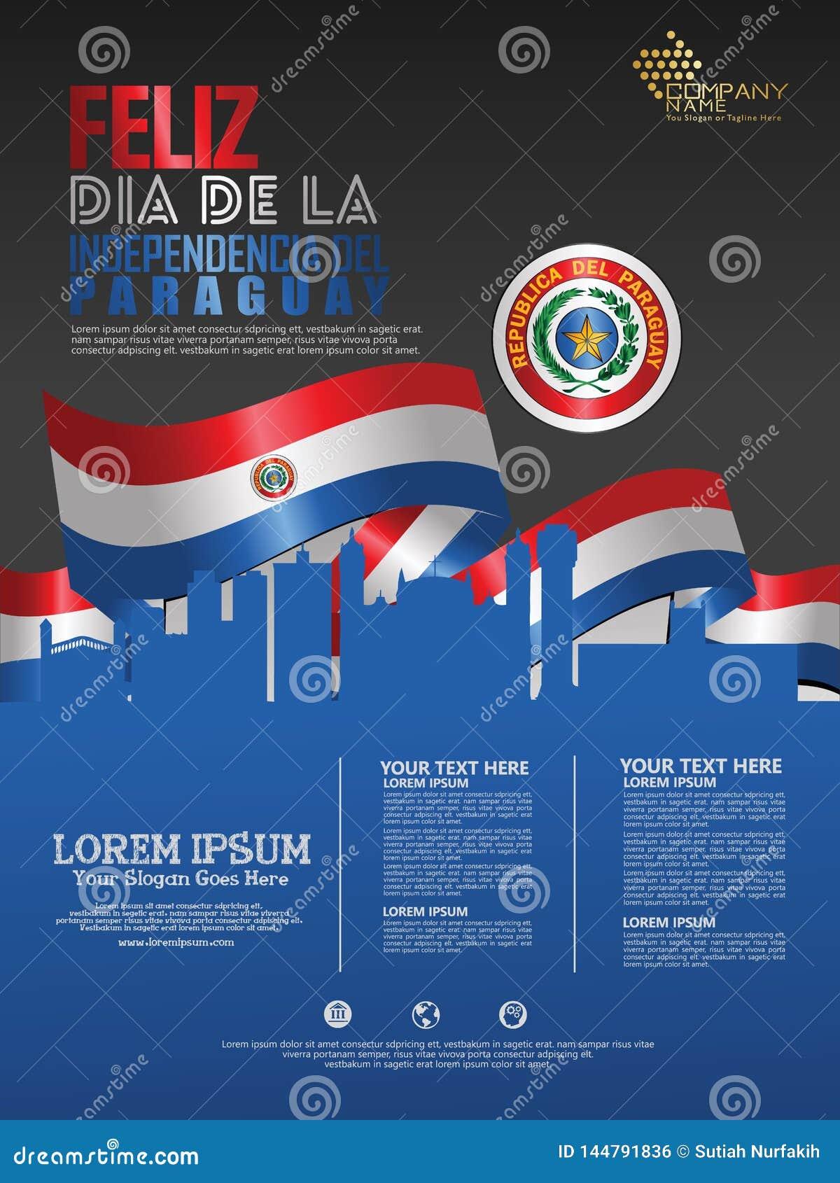 Праздновать День независимости Парагвая Абстрактный развевая флаг на