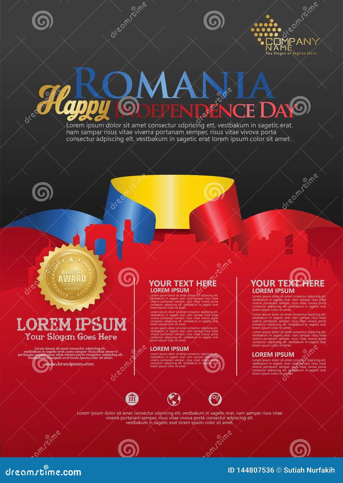Праздновать День независимости Румынии Абстрактный развевая флаг на