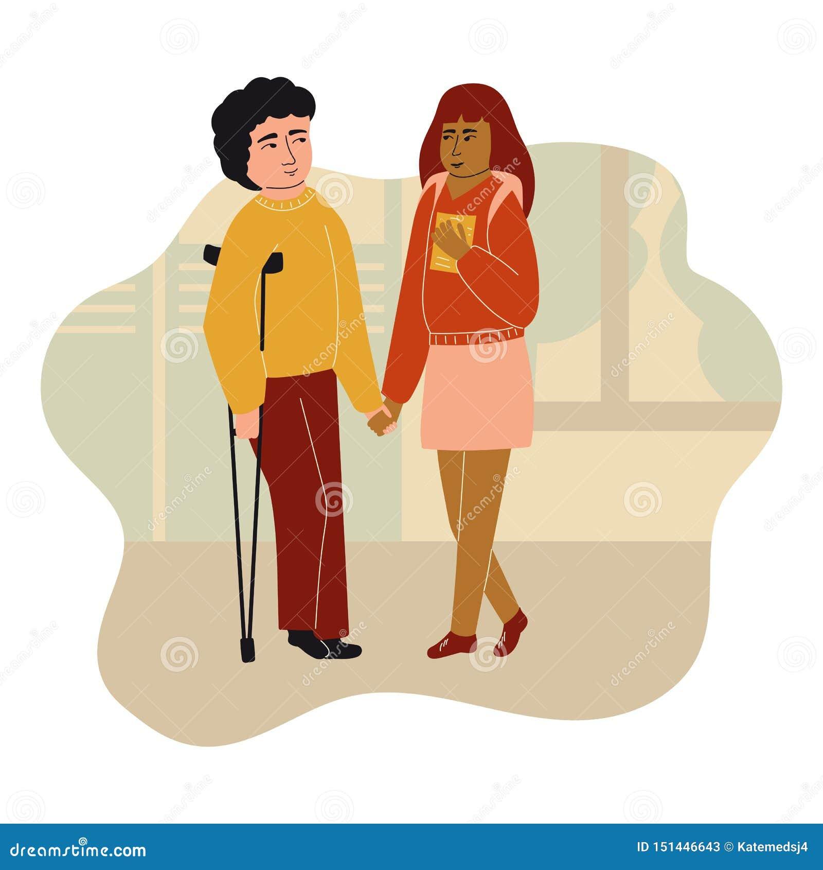 Предназначенный для подростков мальчик и девушка говоря друг к другу Говорить детей Мальчик с костылями r r