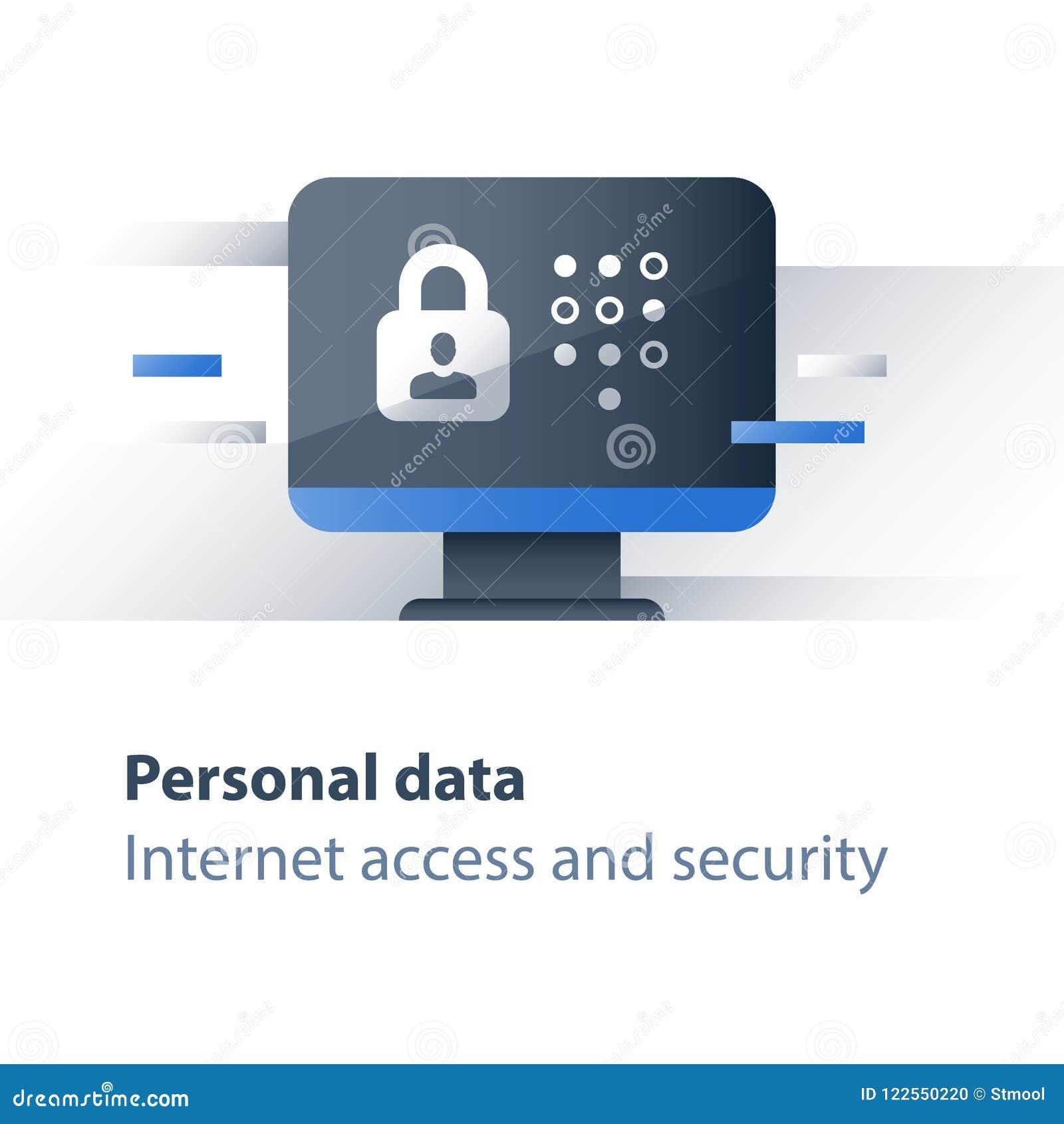 Предохранение от злодеяния кибер, личная концепция безопасности данных, ограниченный доступ, антивирус компьютера, монитор и замо
