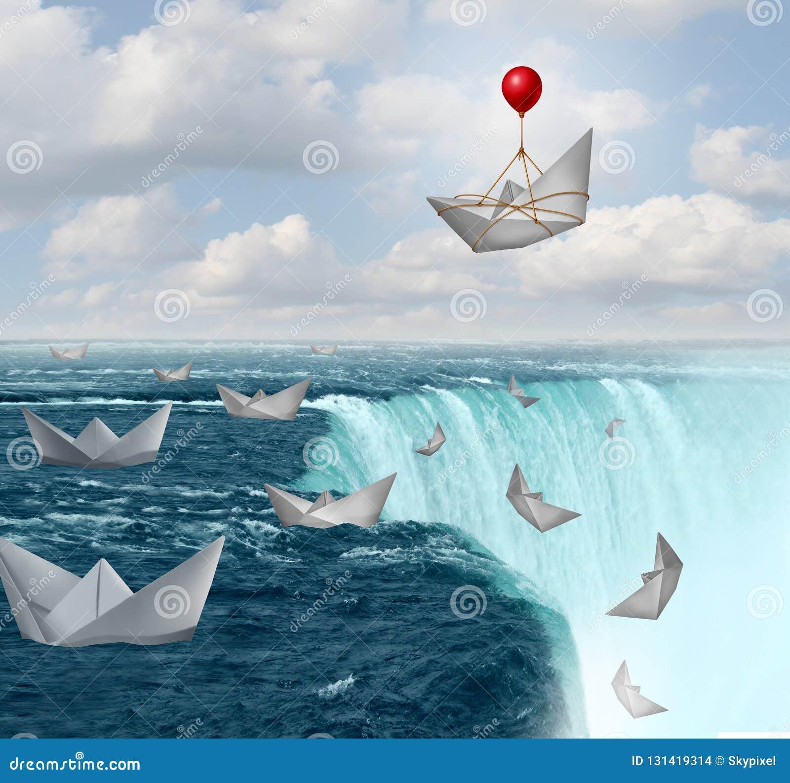 Предохранение от страхования и символ безопасностью неприятия риска как бумажные шлюпки в опасности с одним сохраненным воздушным