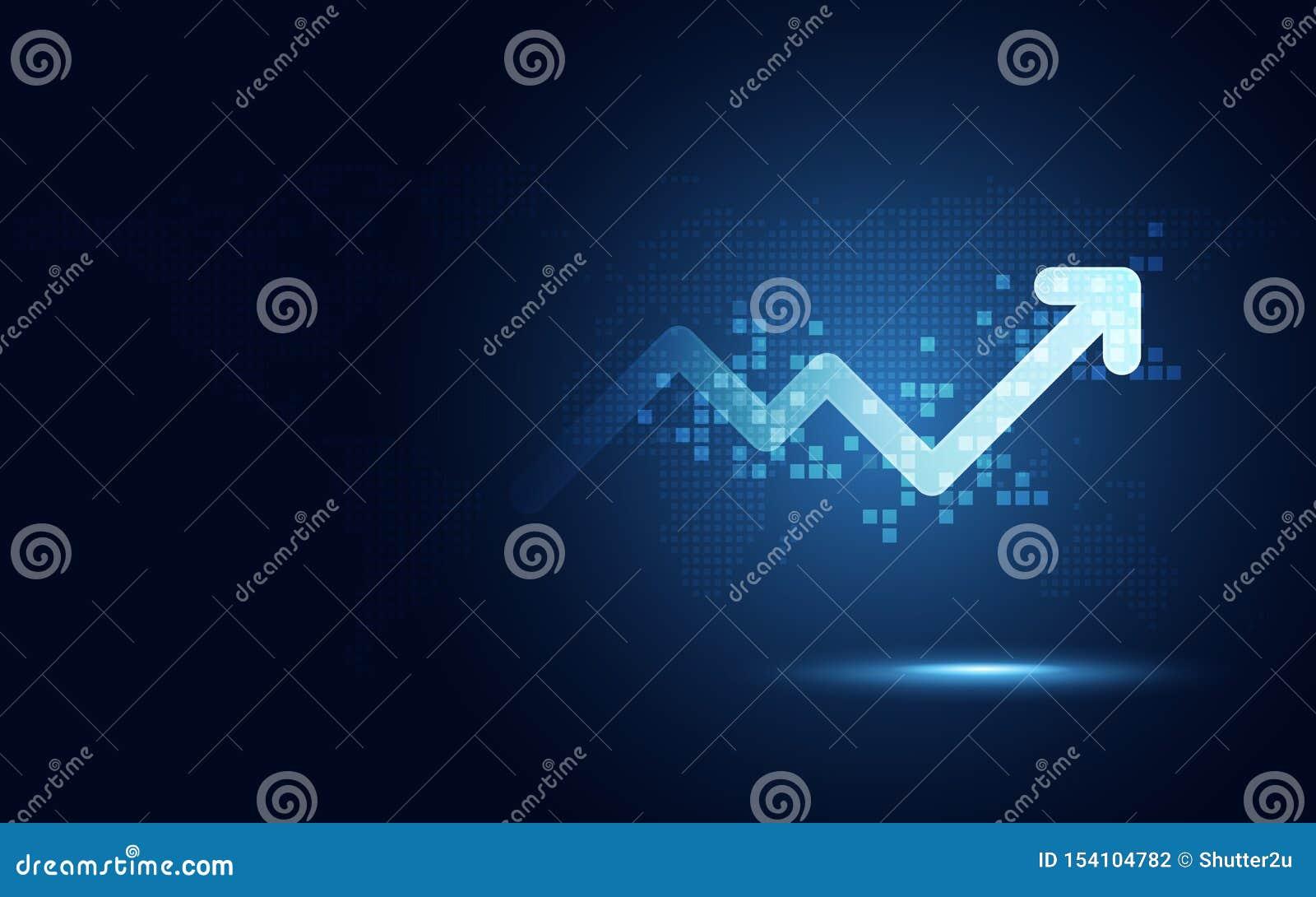 Предпосылка абстрактной технологии преобразования футуристической диаграммы стрелки повышения цифровая Большой запас валюты роста