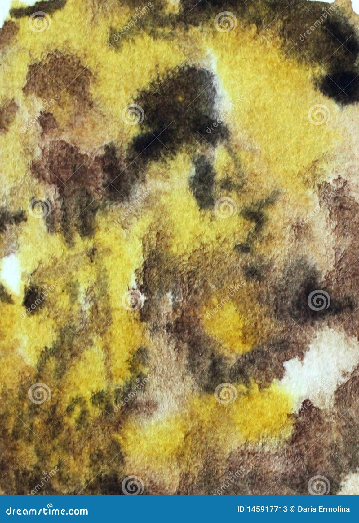 Предпосылка акварели желтая коричневая