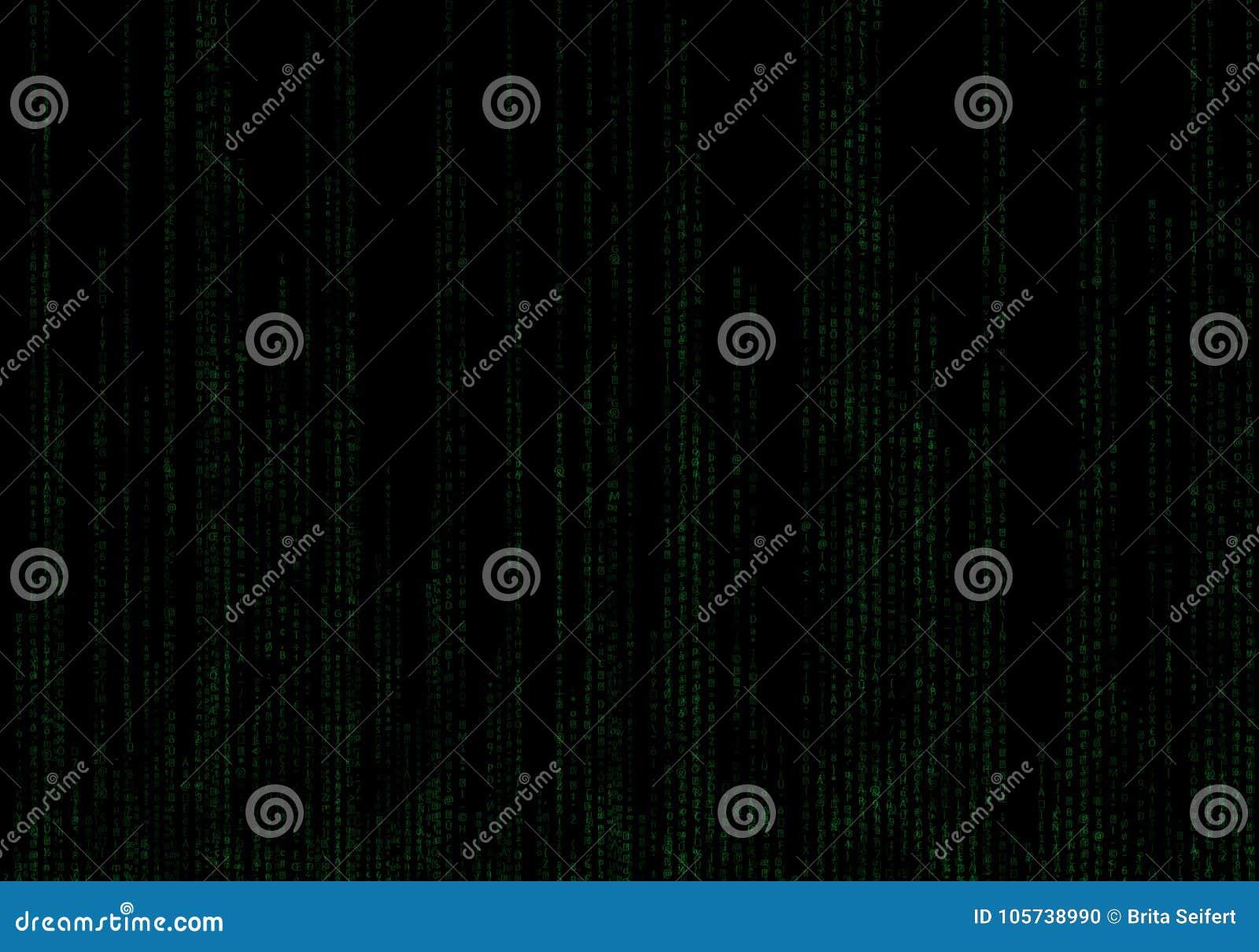 Предпосылка бинарного кода черная и зеленая с числами