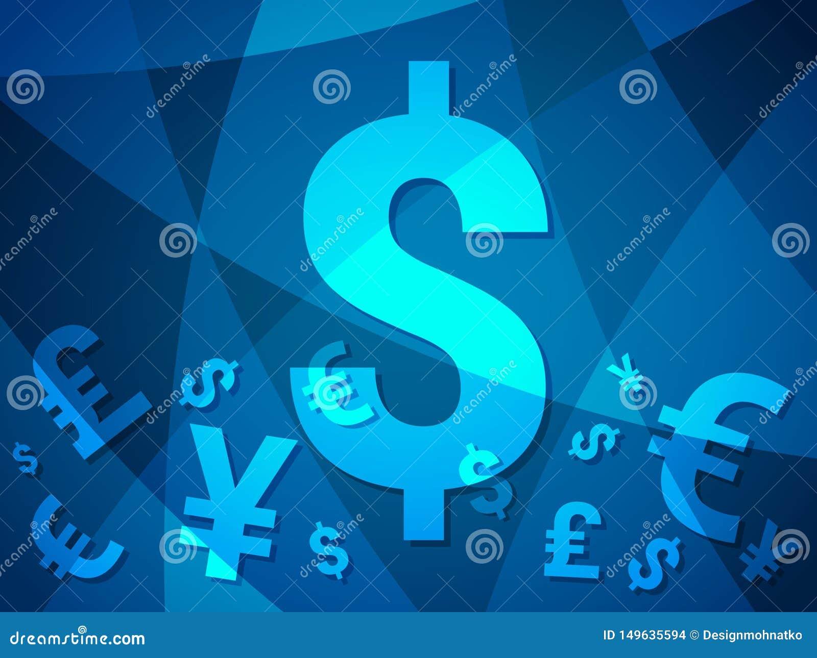 Предпосылка валюты абстрактная с современным творческим дизайном с деньгами фунта иен доллара евро