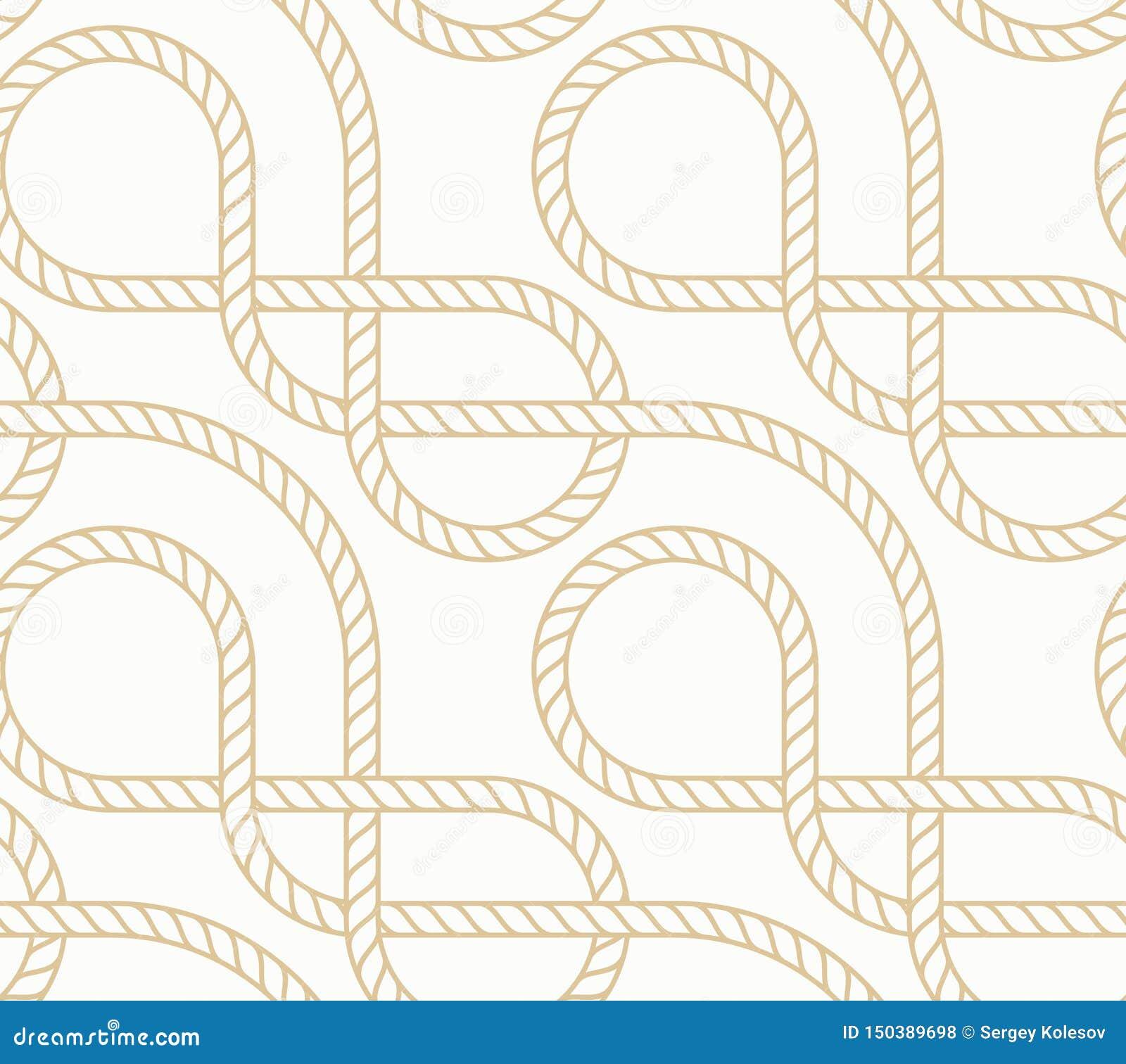 Предпосылка вектора безшовная с морской веревочкой Белизна и золото картины Nautic