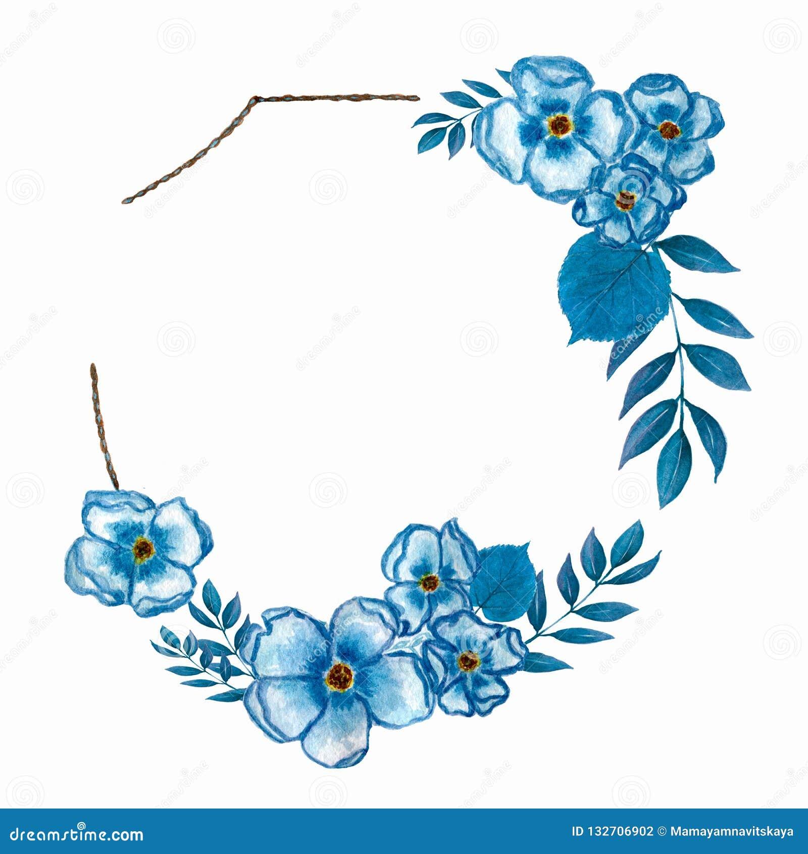 Предпосылка венка цветка акварели для красивого дизайна