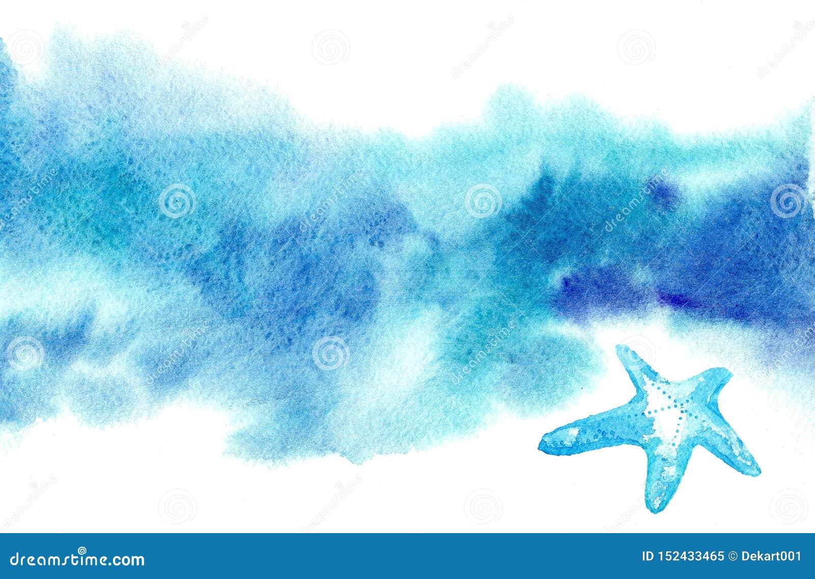 Предпосылка вычерченной акварели руки голубая запачканная для текста с морскими звёздами