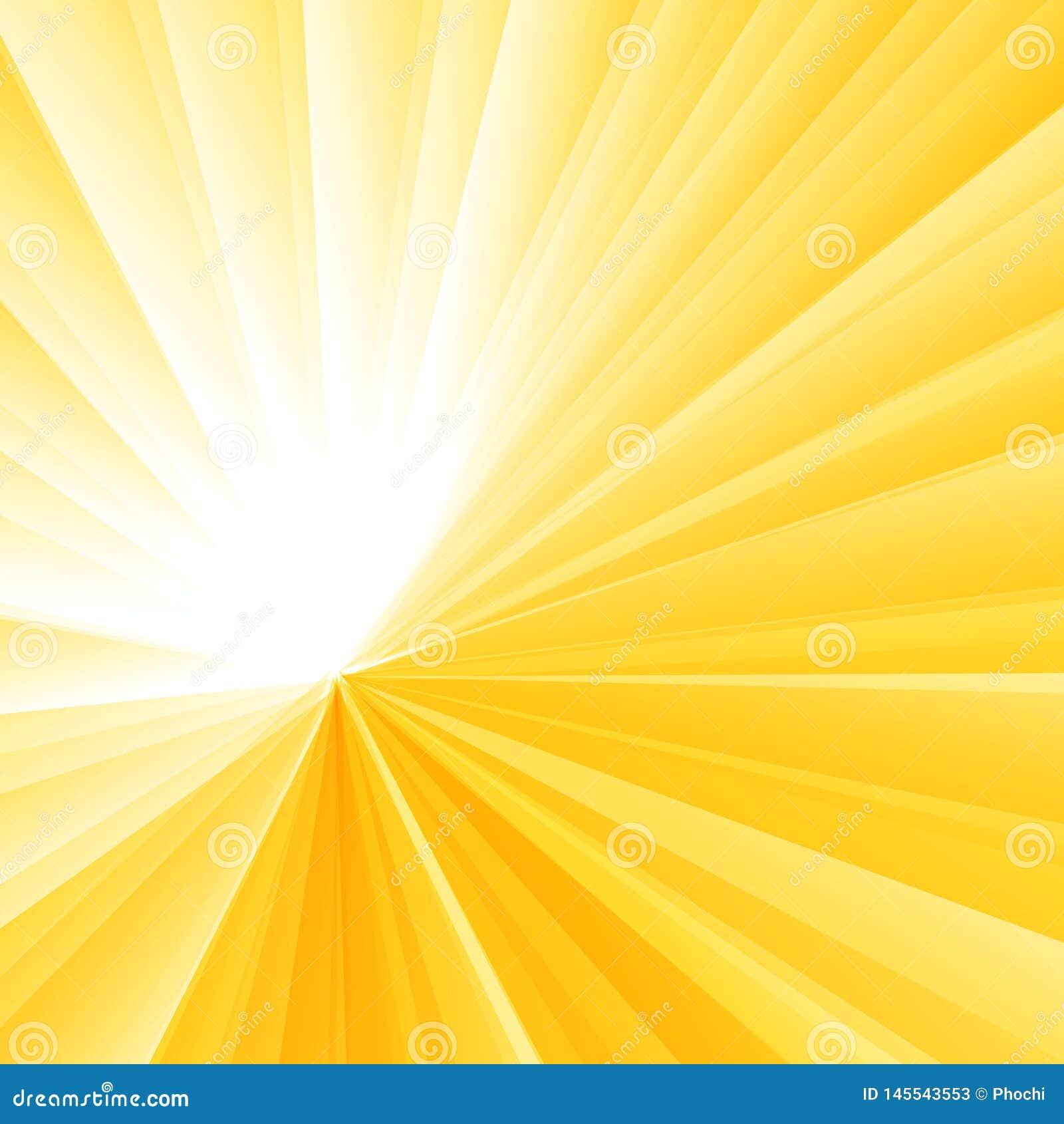 Предпосылка градиента абстрактного светлого взрыва желтая радиальная Sunburst картина лучей