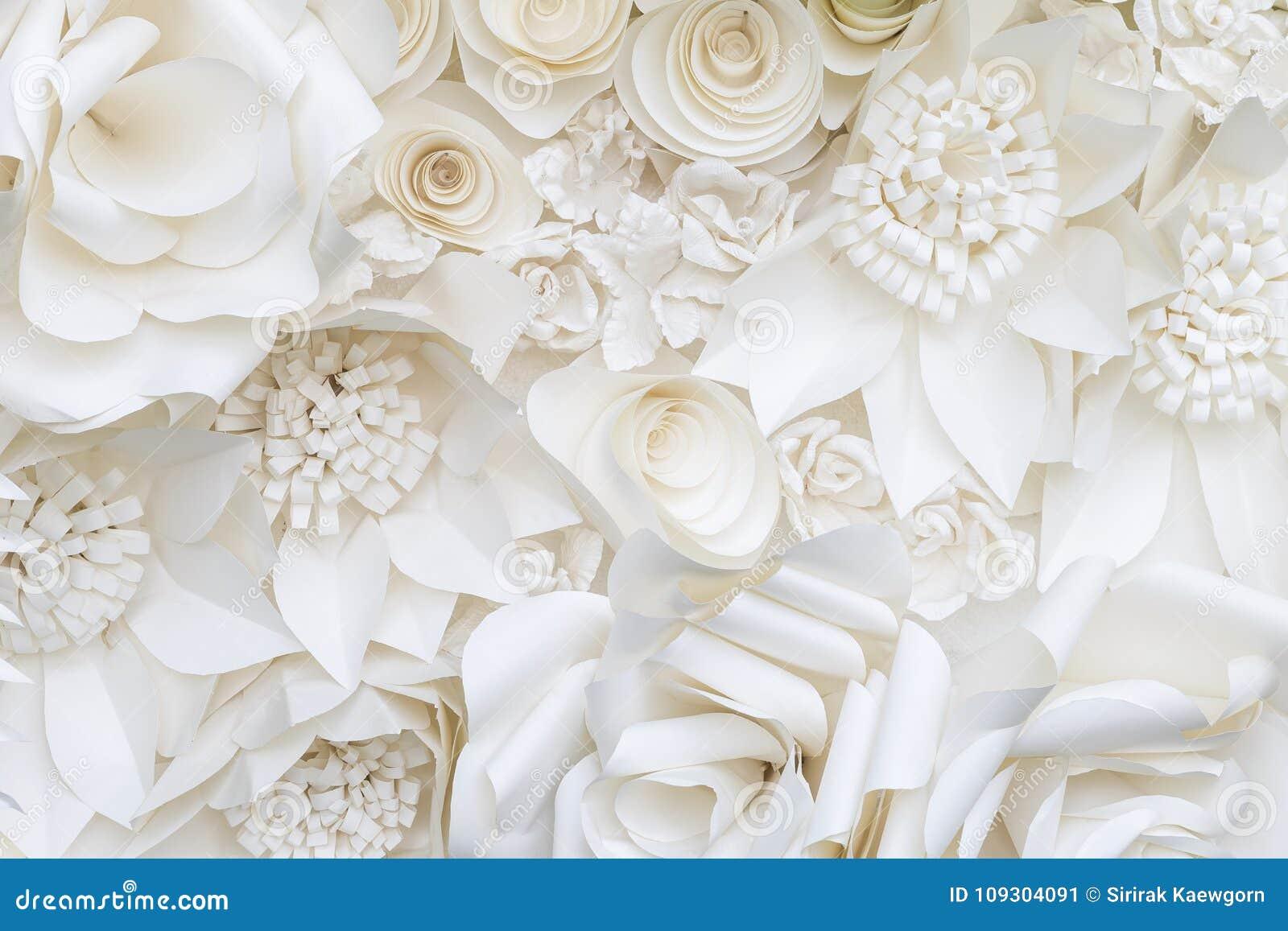 Предпосылка дизайна цветка белой бумаги крупного плана