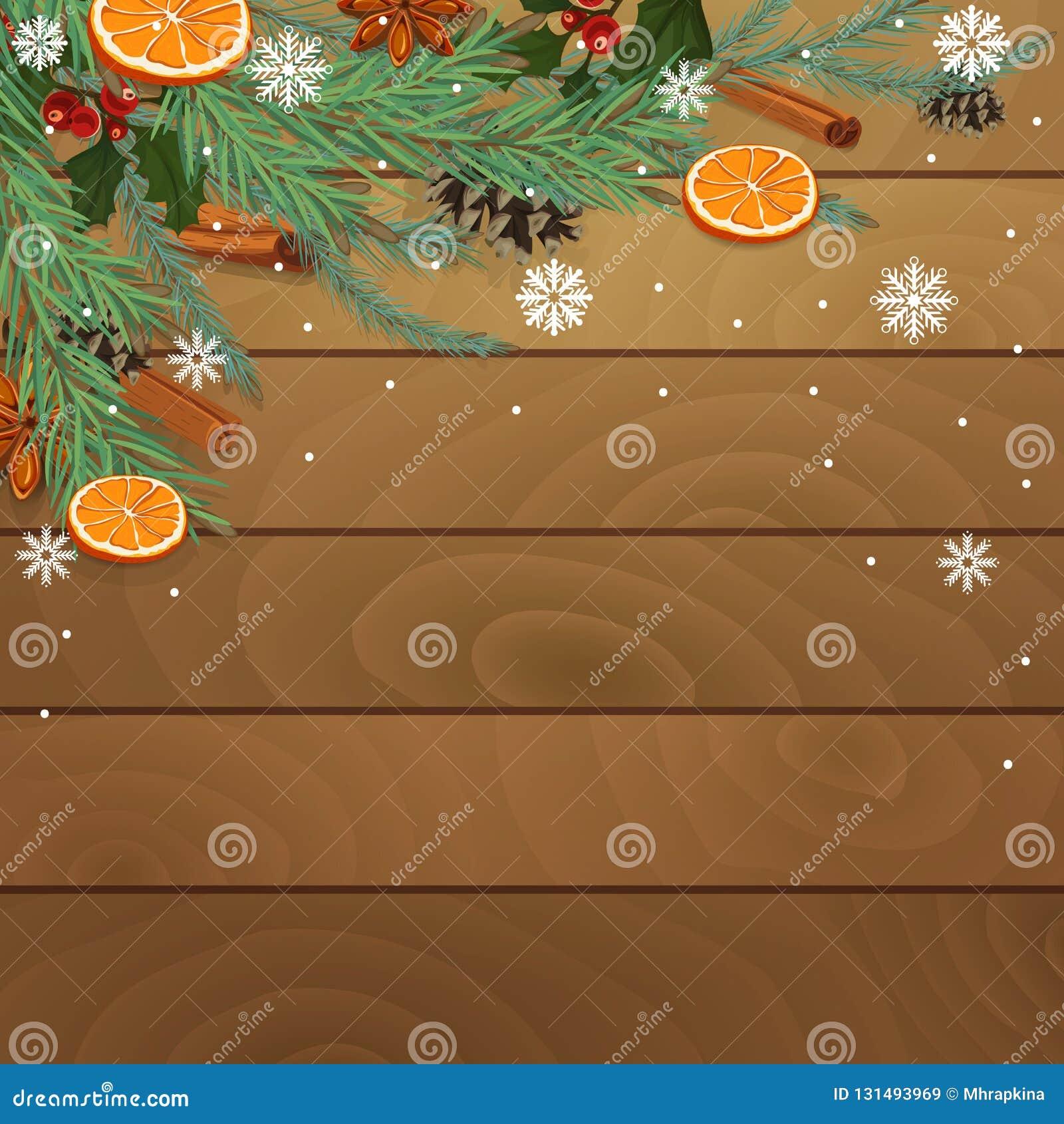Предпосылка древесины рождества с coniferous ветвями, апельсинами и специями