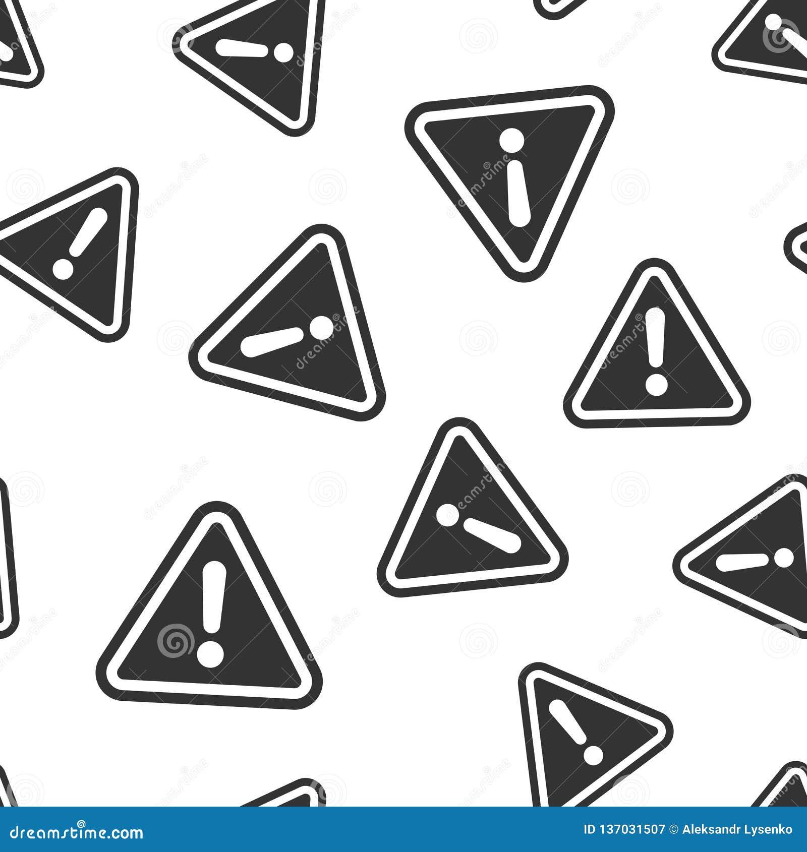 Предпосылка картины значка восклицательного знака безшовная Иллюстрация вектора сигнала тревоги опасности Картина символа риска п