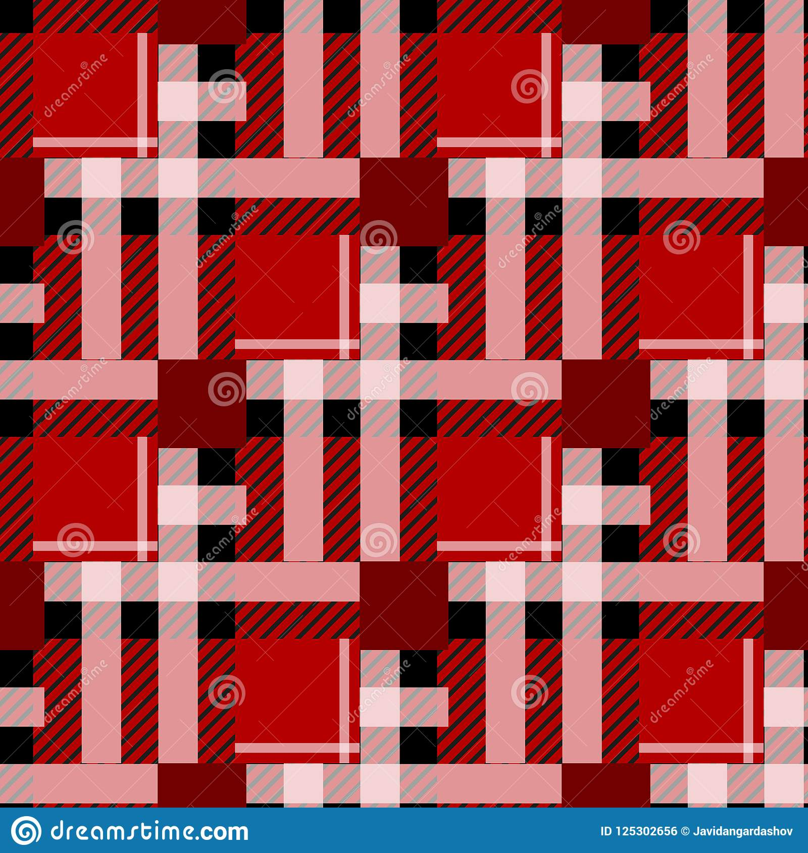 Предпосылка картины тартана безшовная Красная, черно-белая шотландка, картины рубашки фланели тартана Ультрамодная иллюстрация fo