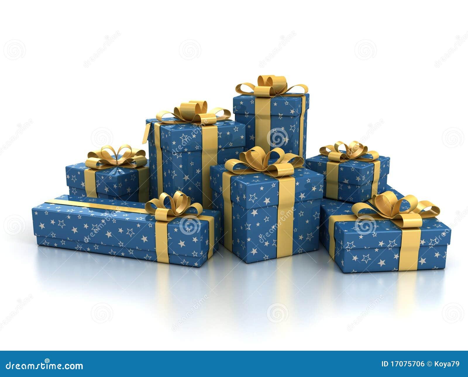 предпосылка кладет подарок в коробку над белизной