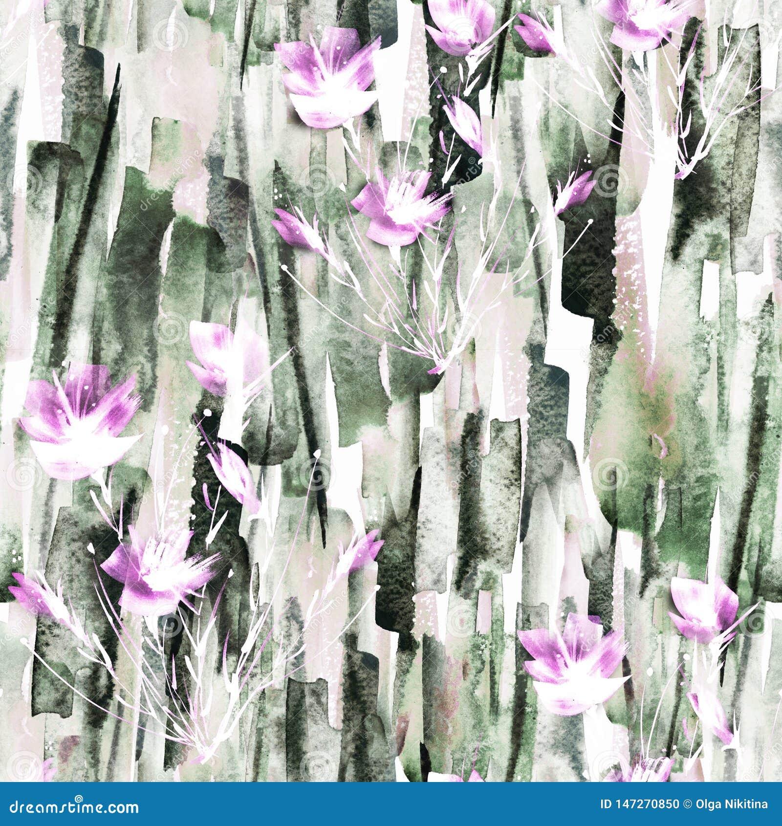 Предпосылка конспекта акварели безшовная Абстрактный завод мака цветка