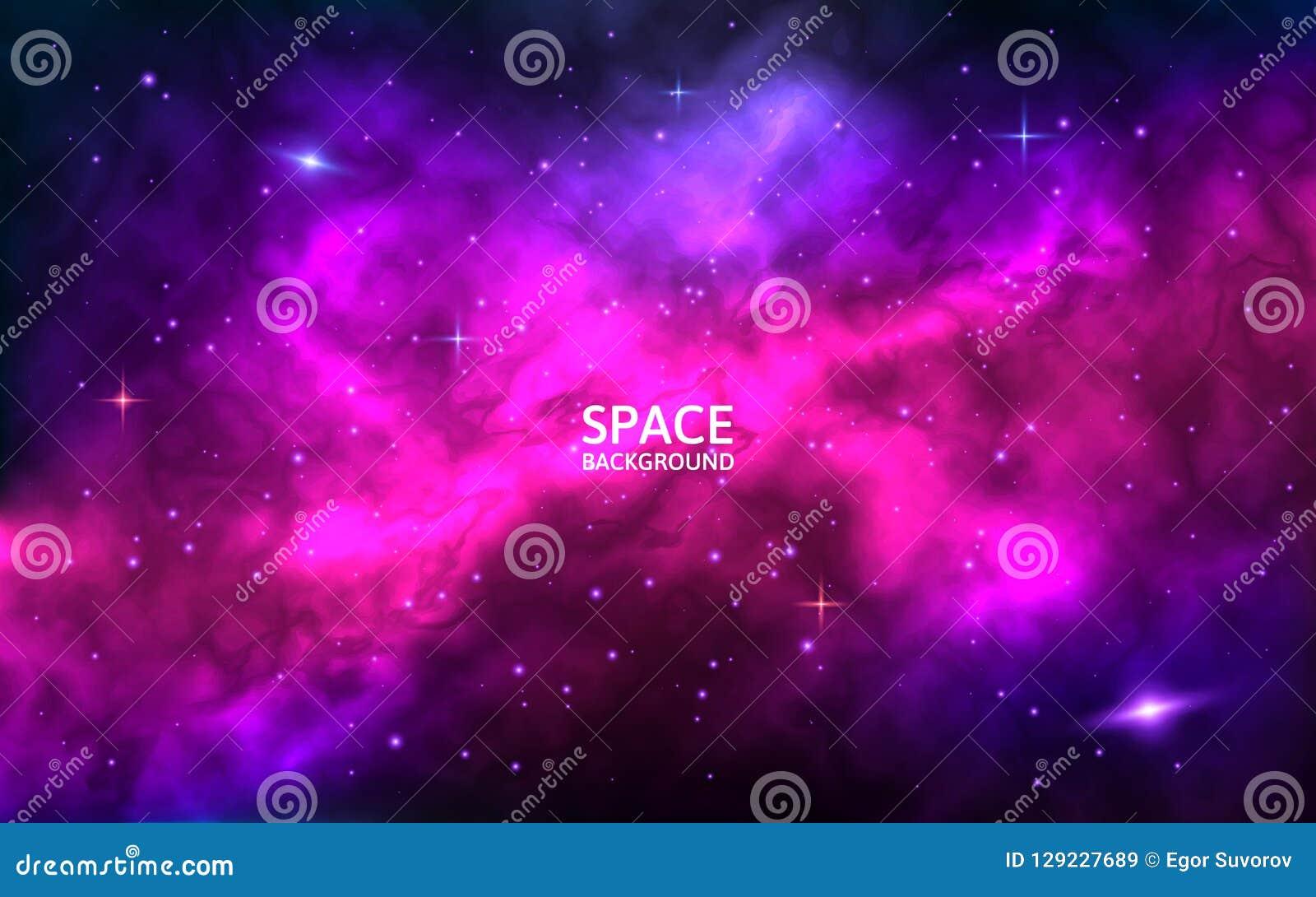 предпосылка космическая Фон космоса с яркими звездами, stardust и межзвёздным облаком Реалистический космос с красочной галактико
