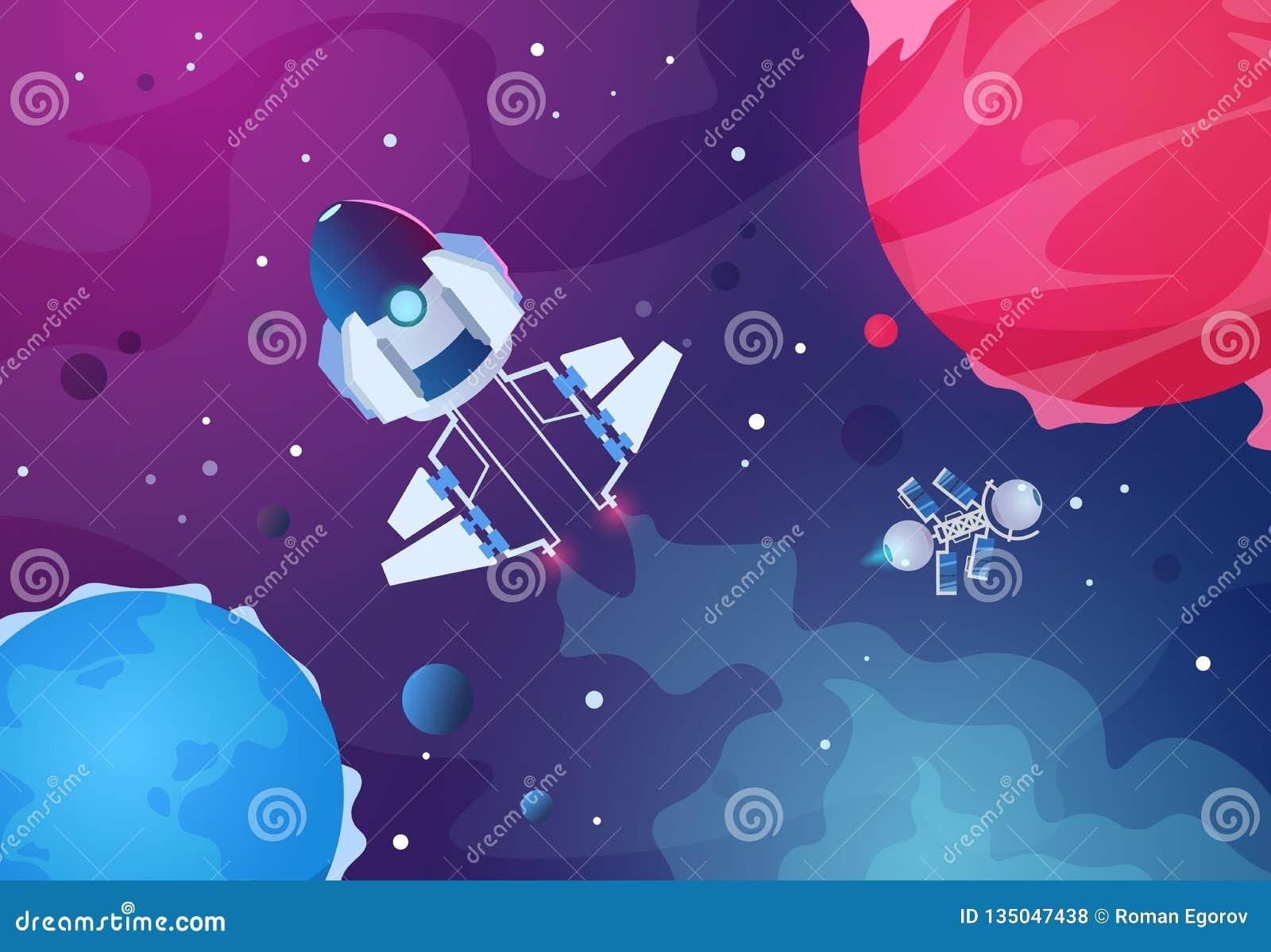 Предпосылка космоса шаржа Звезды планеты земли космического корабля планет чужеземца астероидные выпускают ракету Будущий фон кос