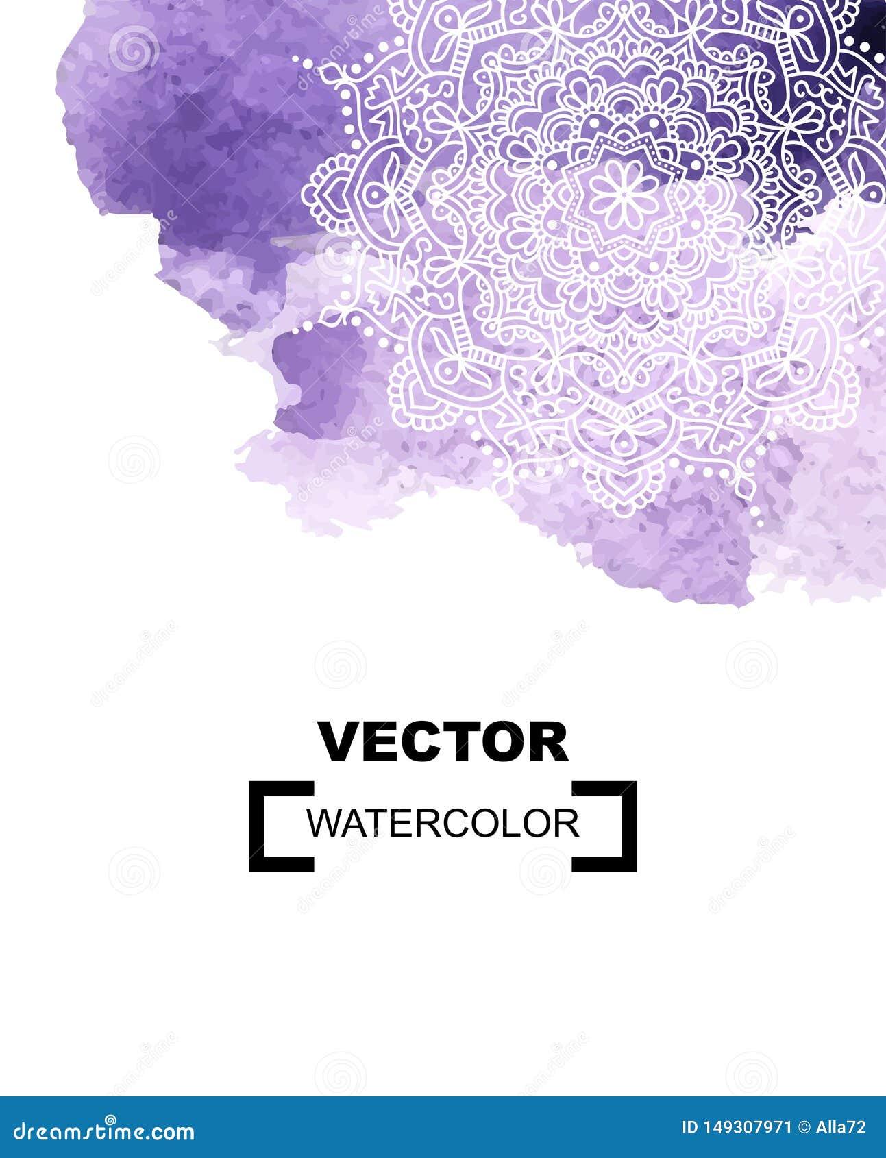 Предпосылка краски акварели с белой рукой нарисованной вокруг doodles и мандал дизайн фона