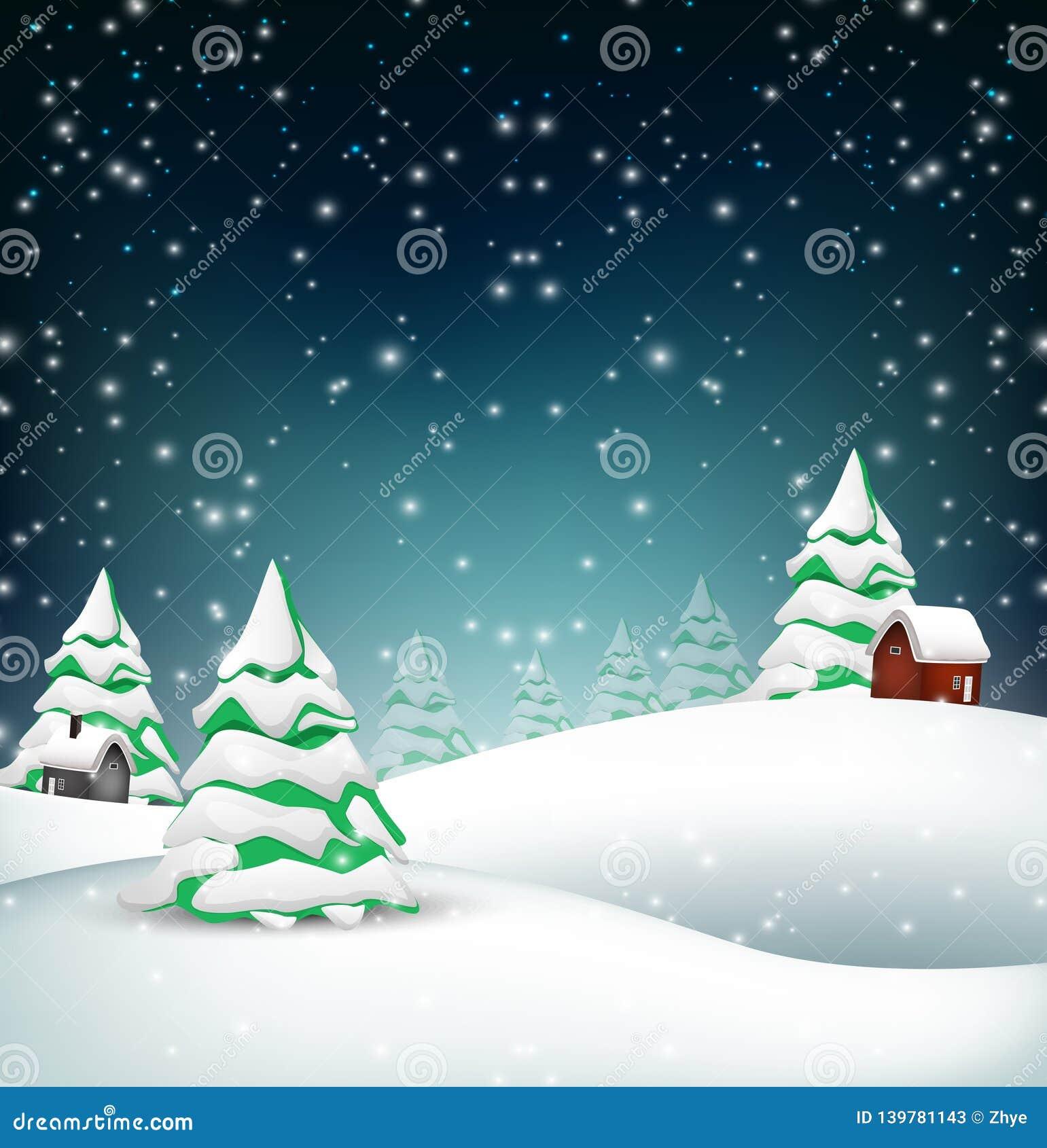 Предпосылка ландшафта зимы рождества
